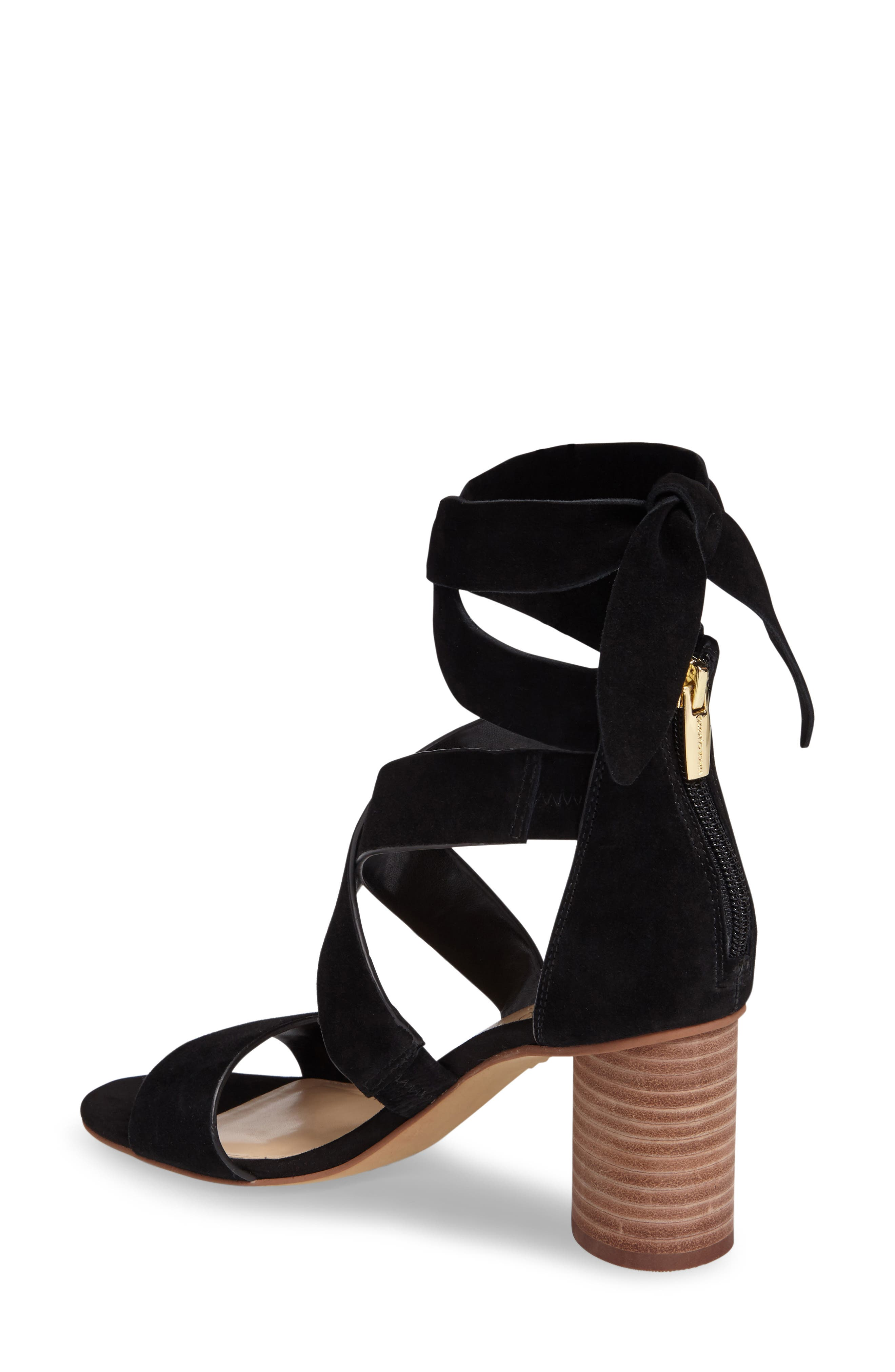 Jeneve Block Heel Sandal,                             Alternate thumbnail 2, color,                             Black Suede