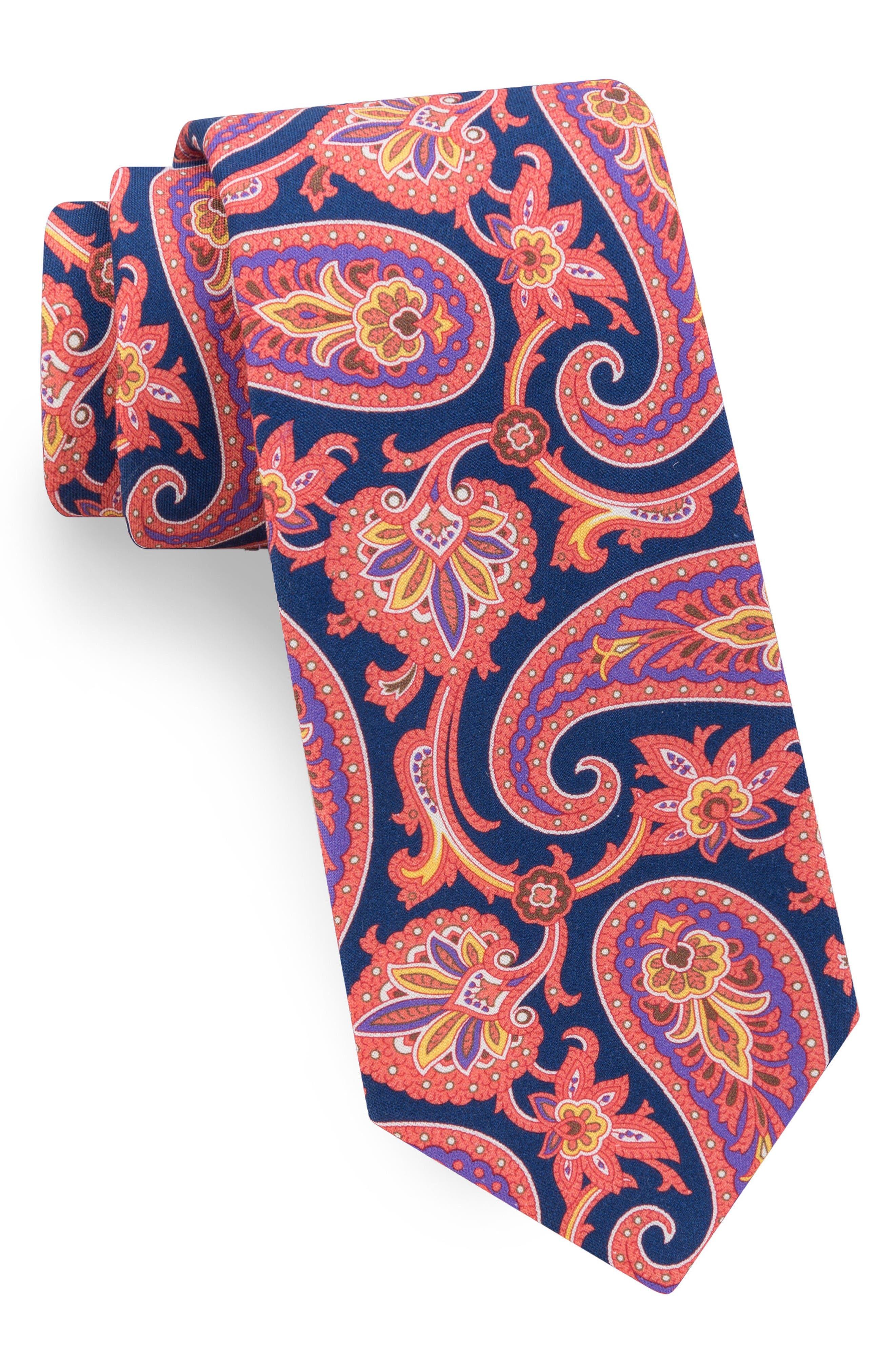 Hoxton Paisley Silk Tie,                             Main thumbnail 1, color,                             Navy/ Orange