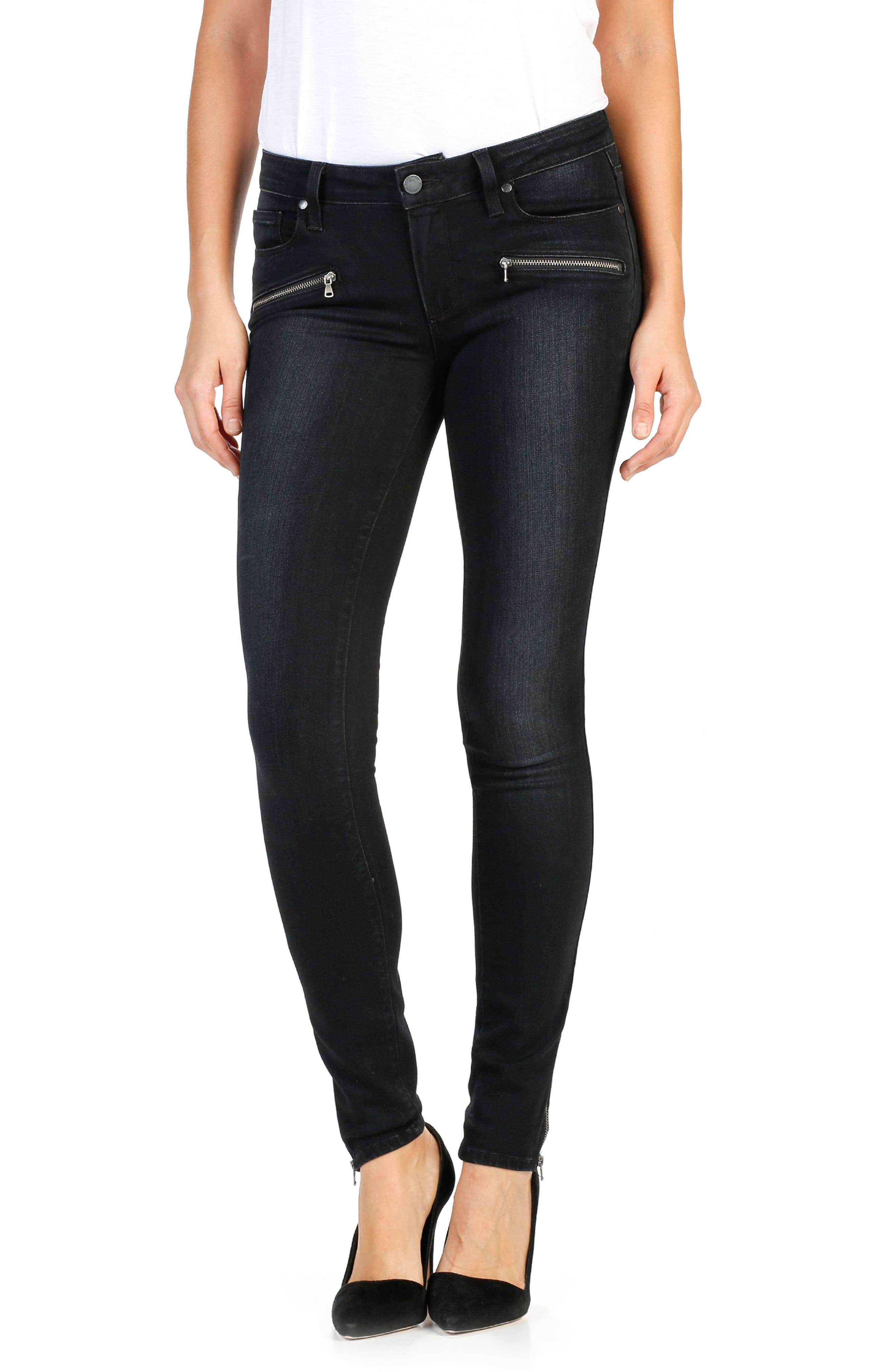 Main Image - PAIGE Transcend - Jill Zip Ultra Skinny Jeans (Cassidy No Whiskers)