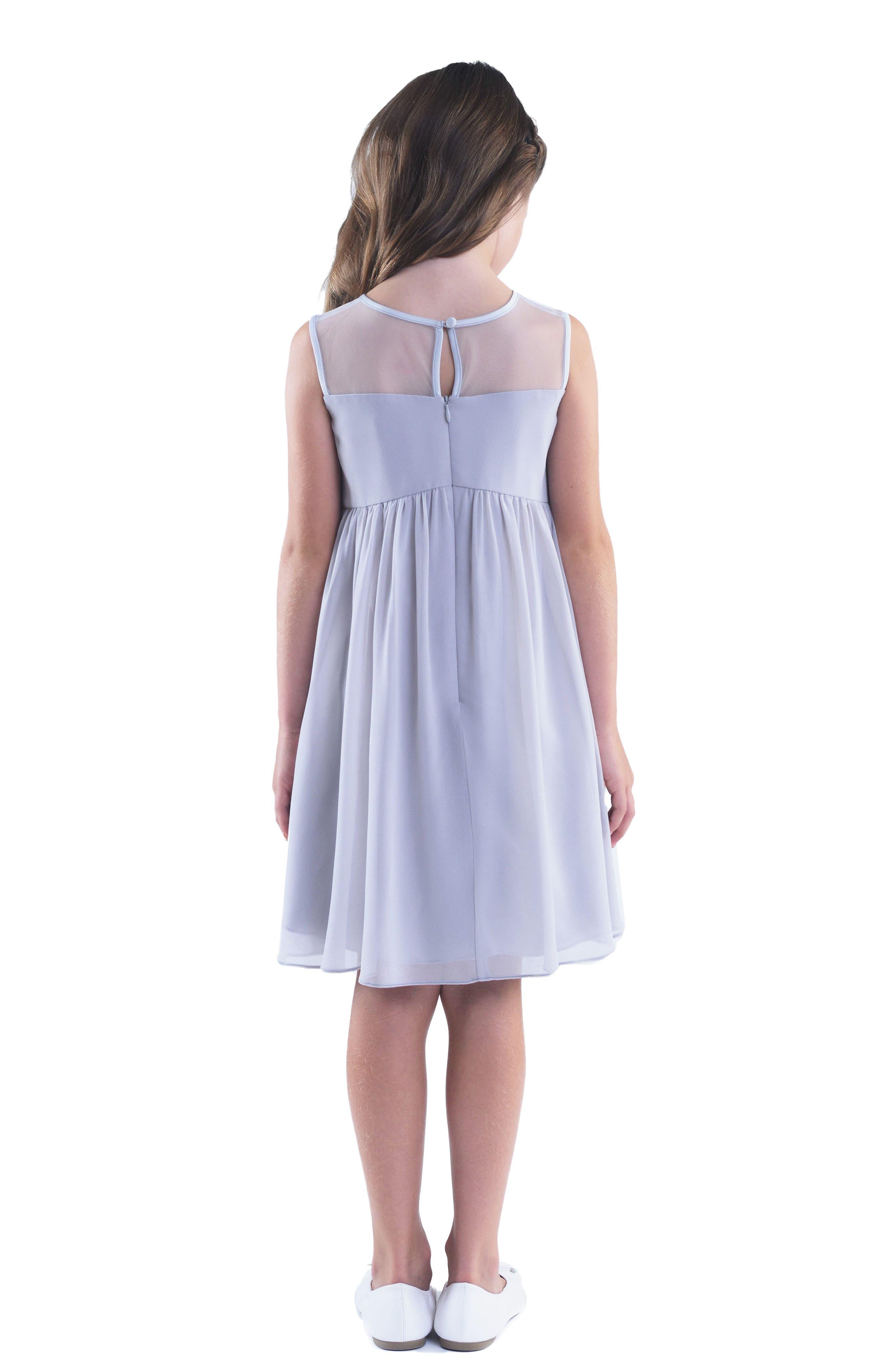 Illusion Neckline Dress,                             Alternate thumbnail 2, color,                             Silver