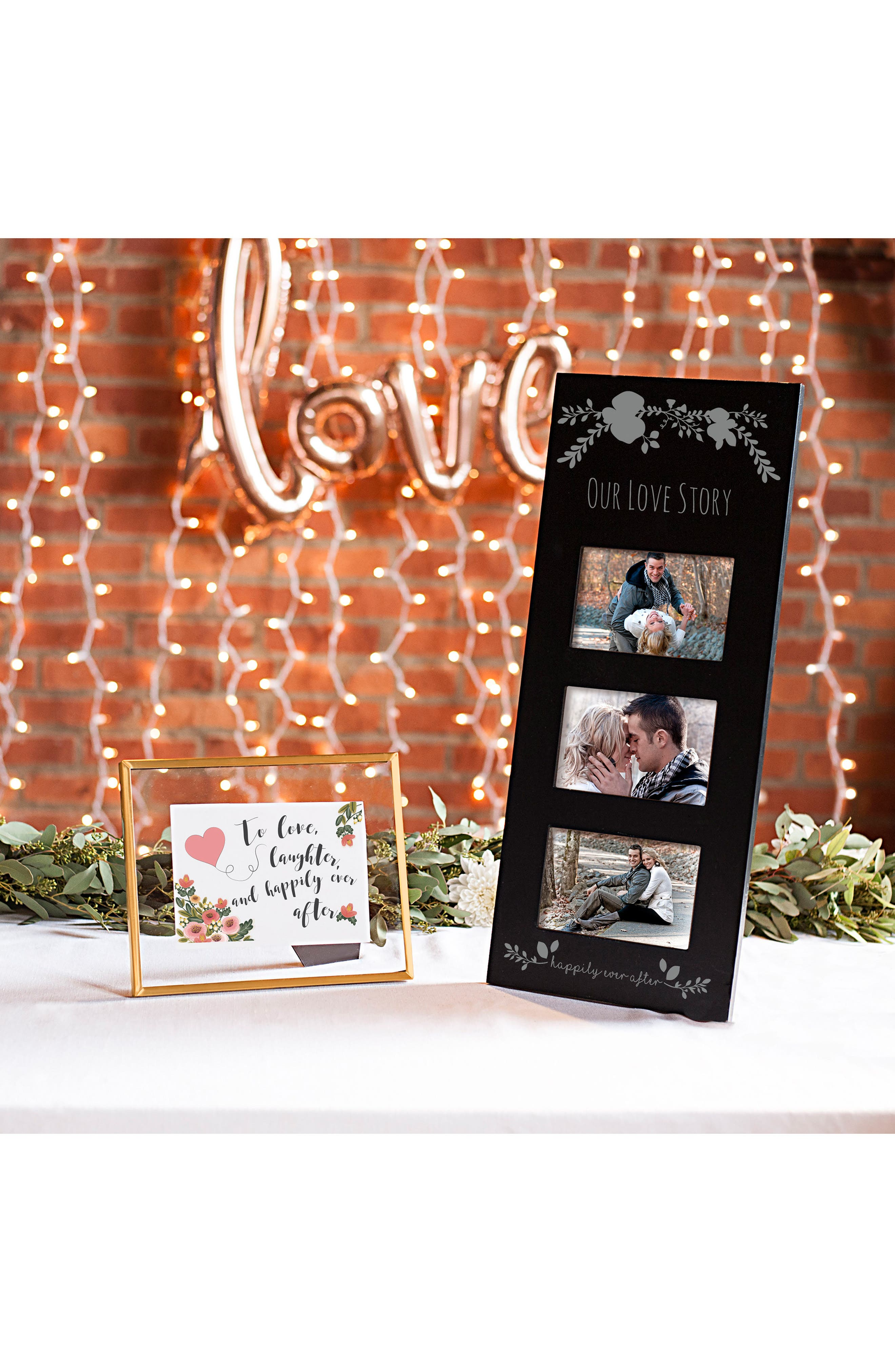 Silver Love Story 3-Window Picture Frame,                             Alternate thumbnail 2, color,                             Black