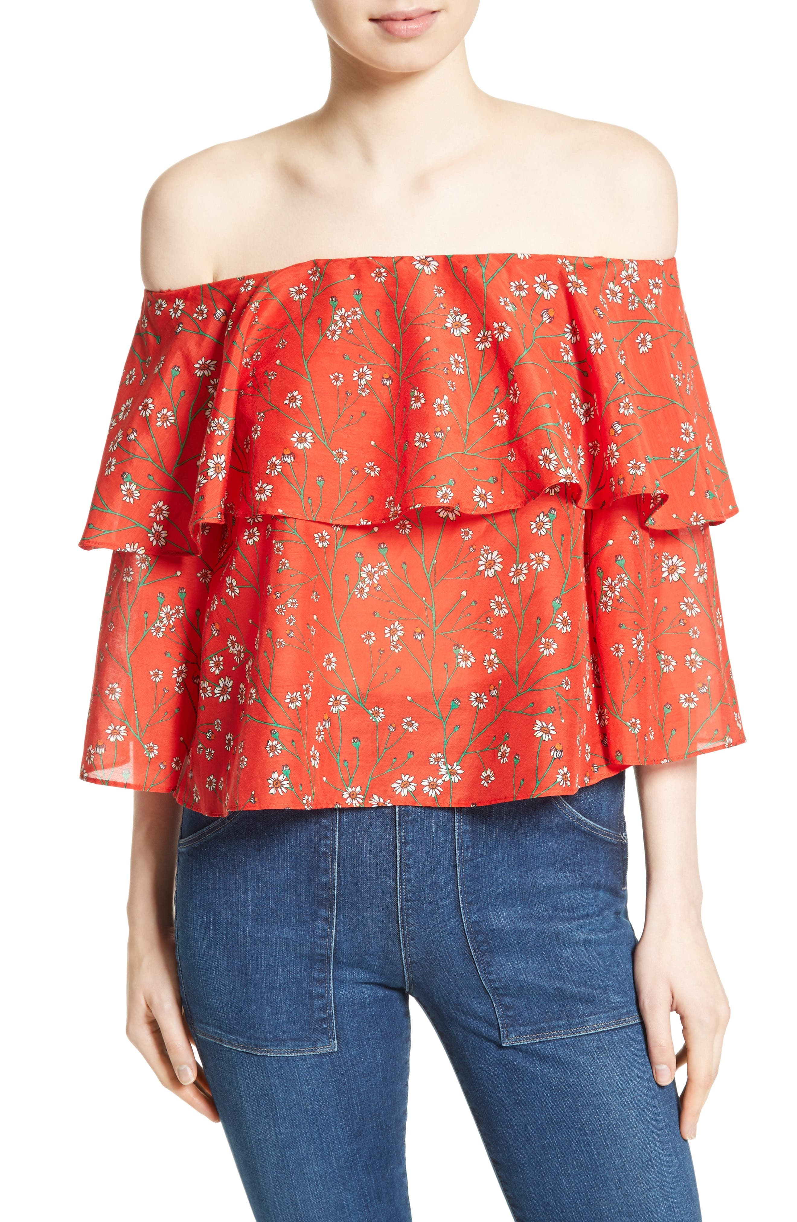 Meagan Double Layer Off the Shoulder Top,                         Main,                         color, Dainty Daisy