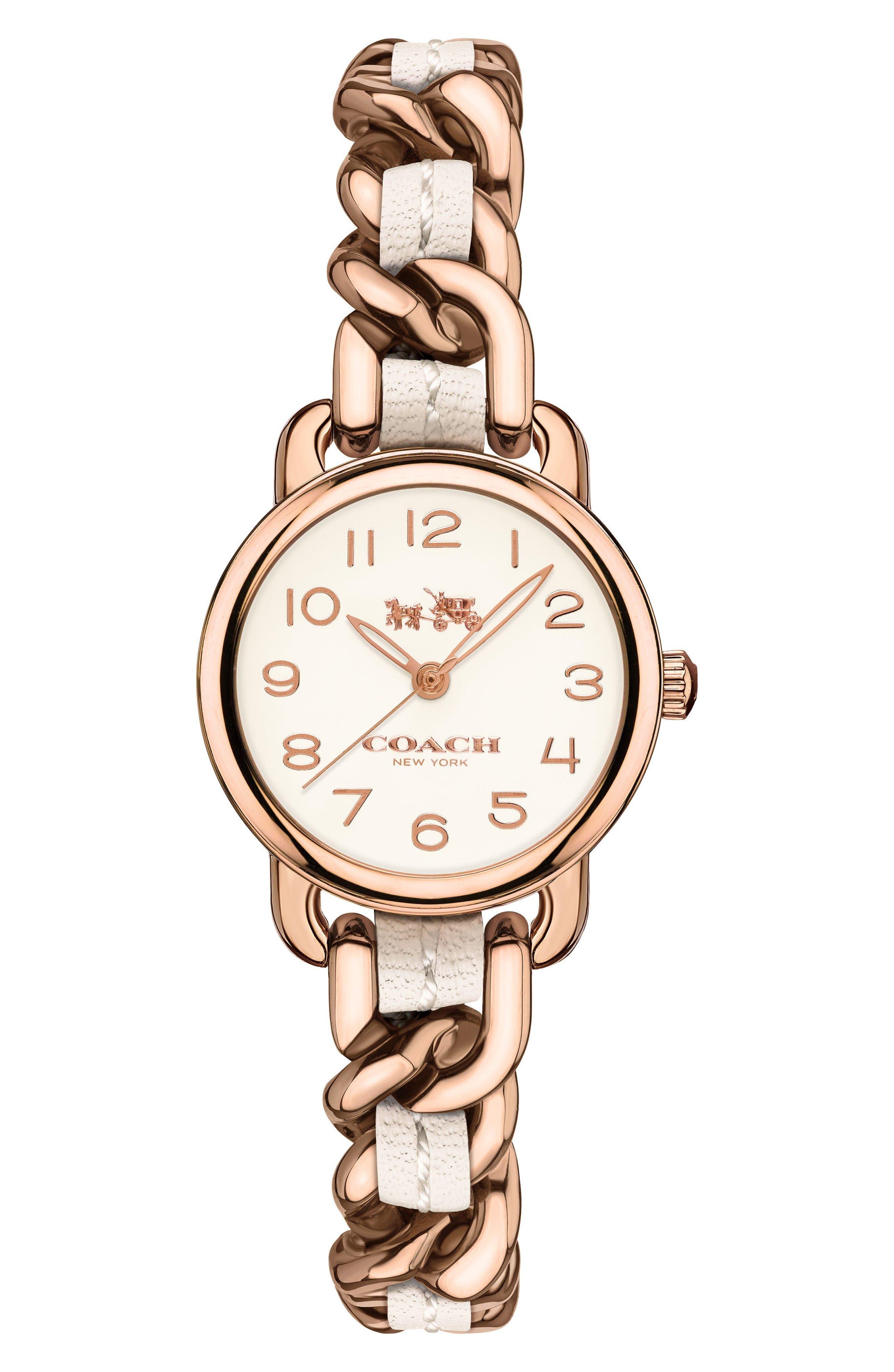 COACH Delancey Leather Chain Watch, 23mm