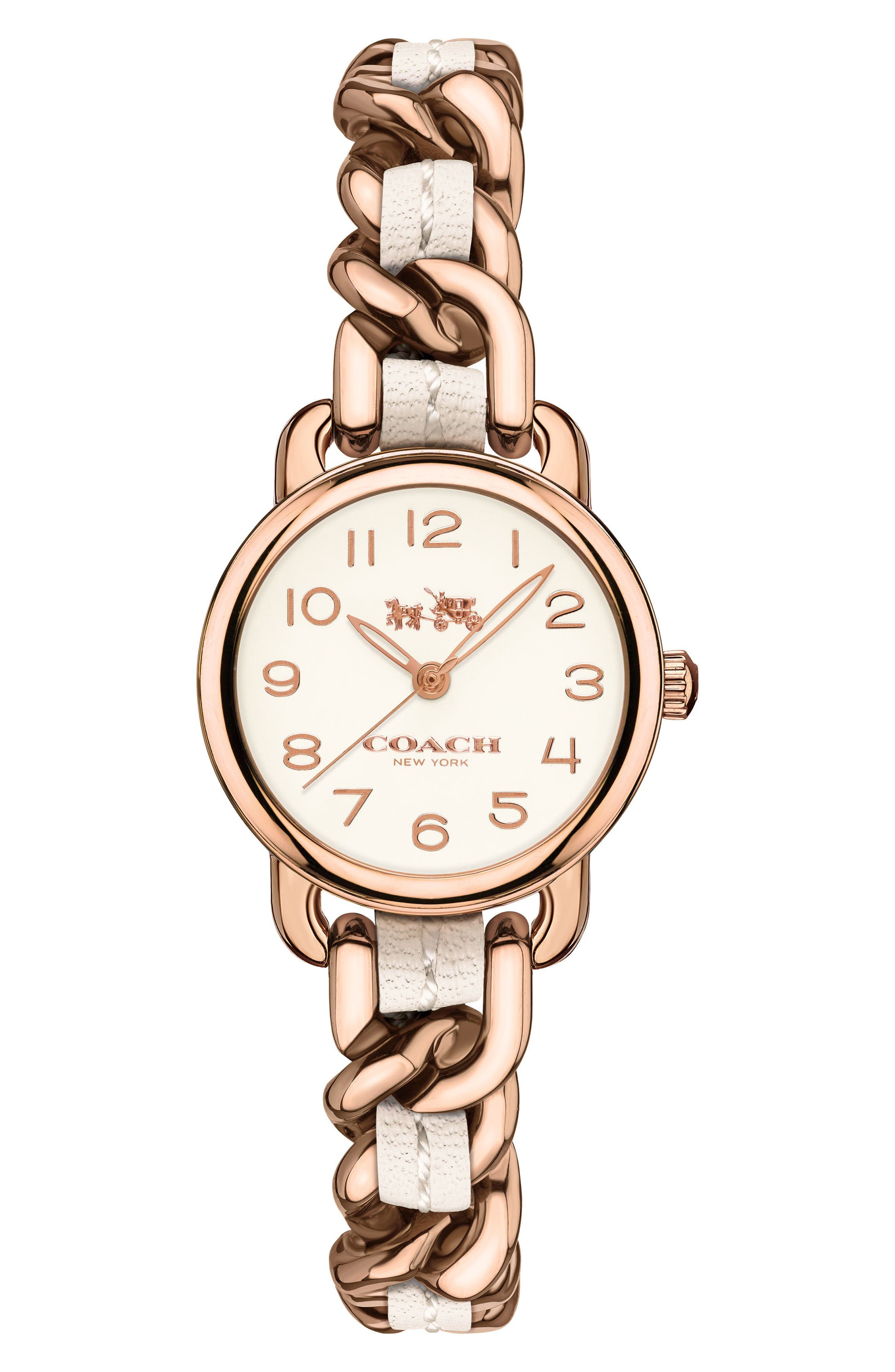 Delancey Leather Chain Watch, 23mm,                             Main thumbnail 1, color,                             White/ Rose Gold