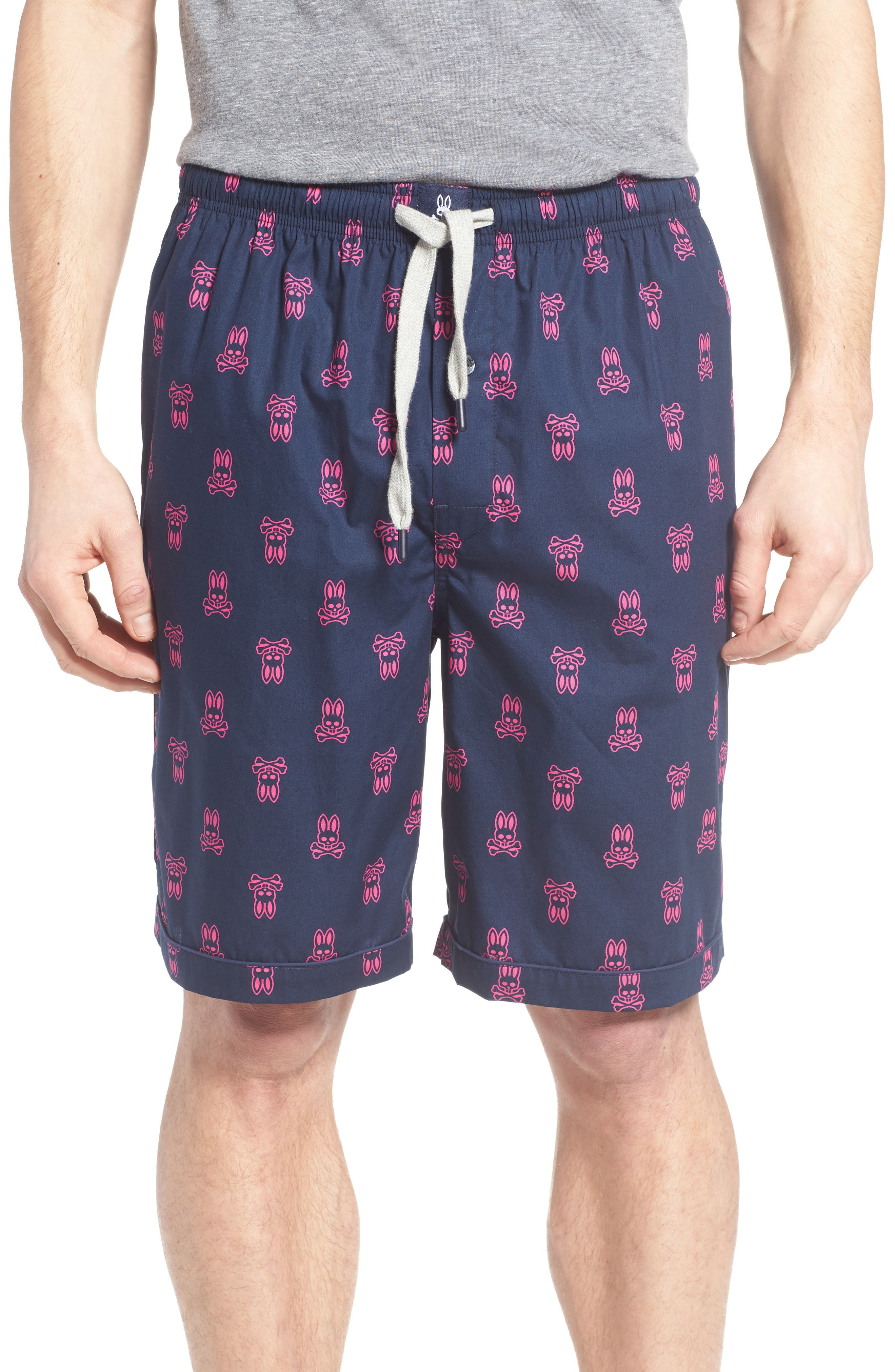 Cotton Lounge Shorts,                         Main,                         color, Peacoat Bunny