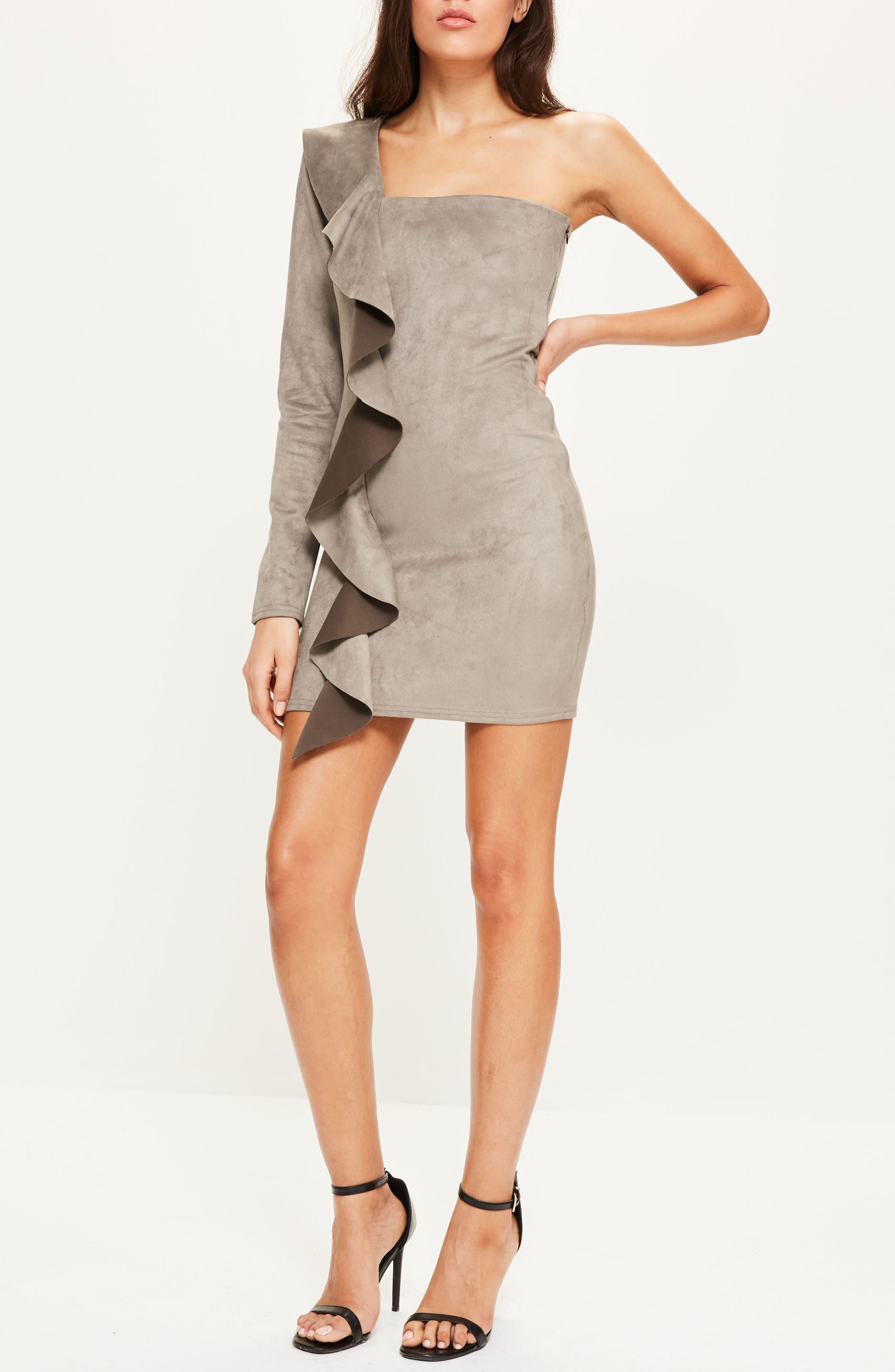 Alternate Image 2  - Missguided One-Shoulder Suede Minidress