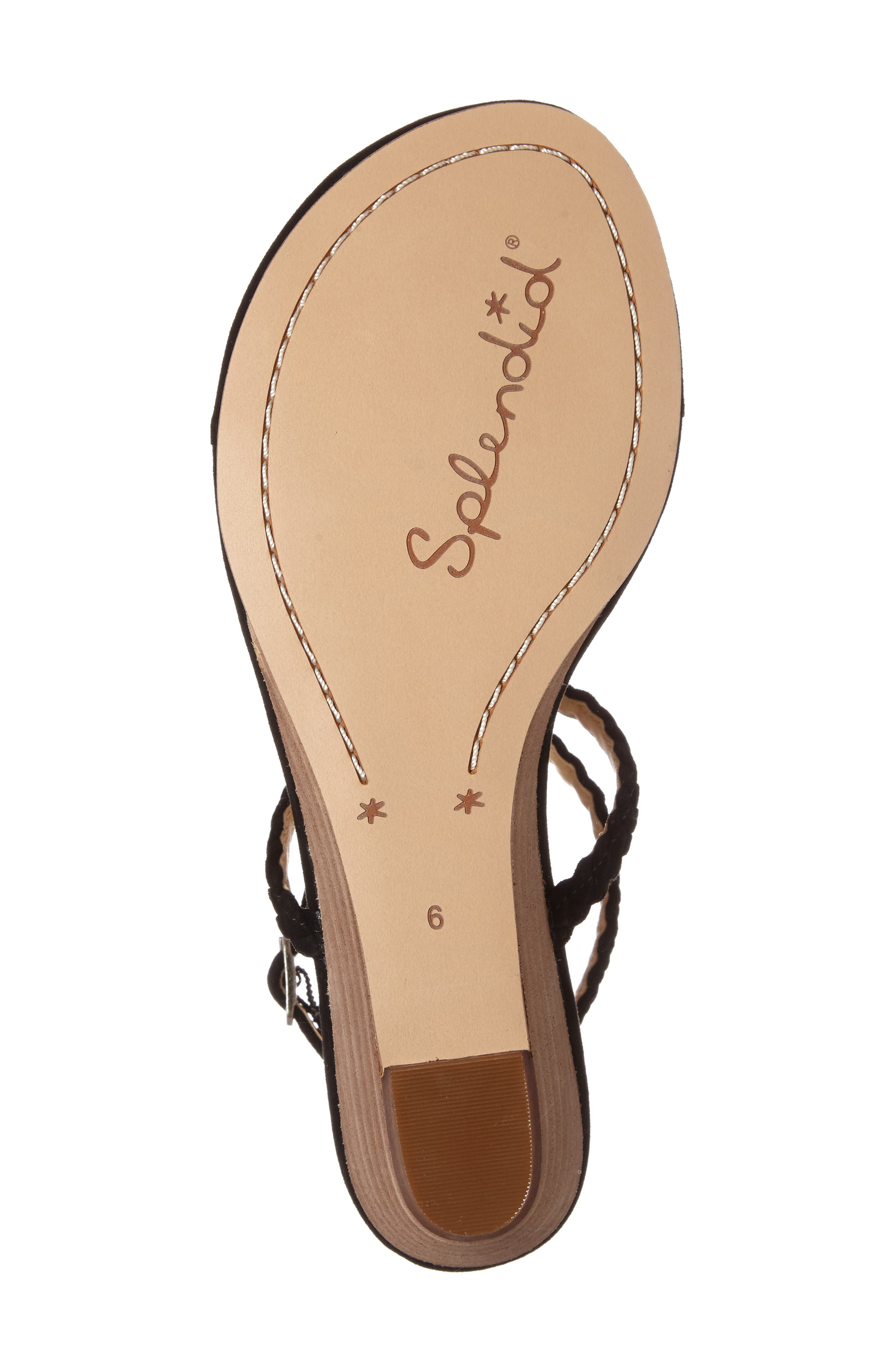 Jadia T-Strap Sandal,                             Alternate thumbnail 4, color,                             Black Suede