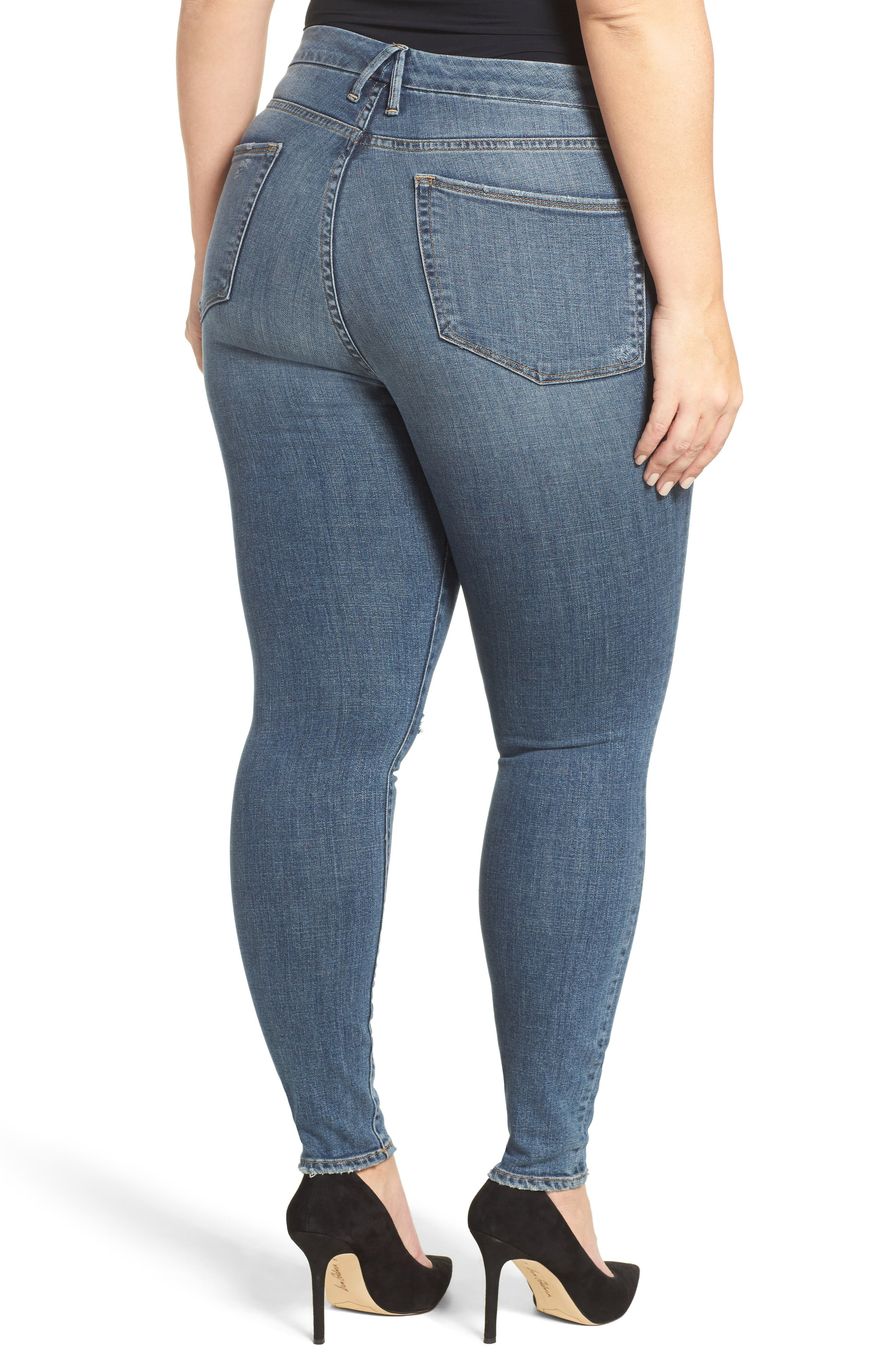 Alternate Image 9  - Good American Good Waist High Waist Ripped Skinny Jeans (Blue 026) (Extended Sizes)