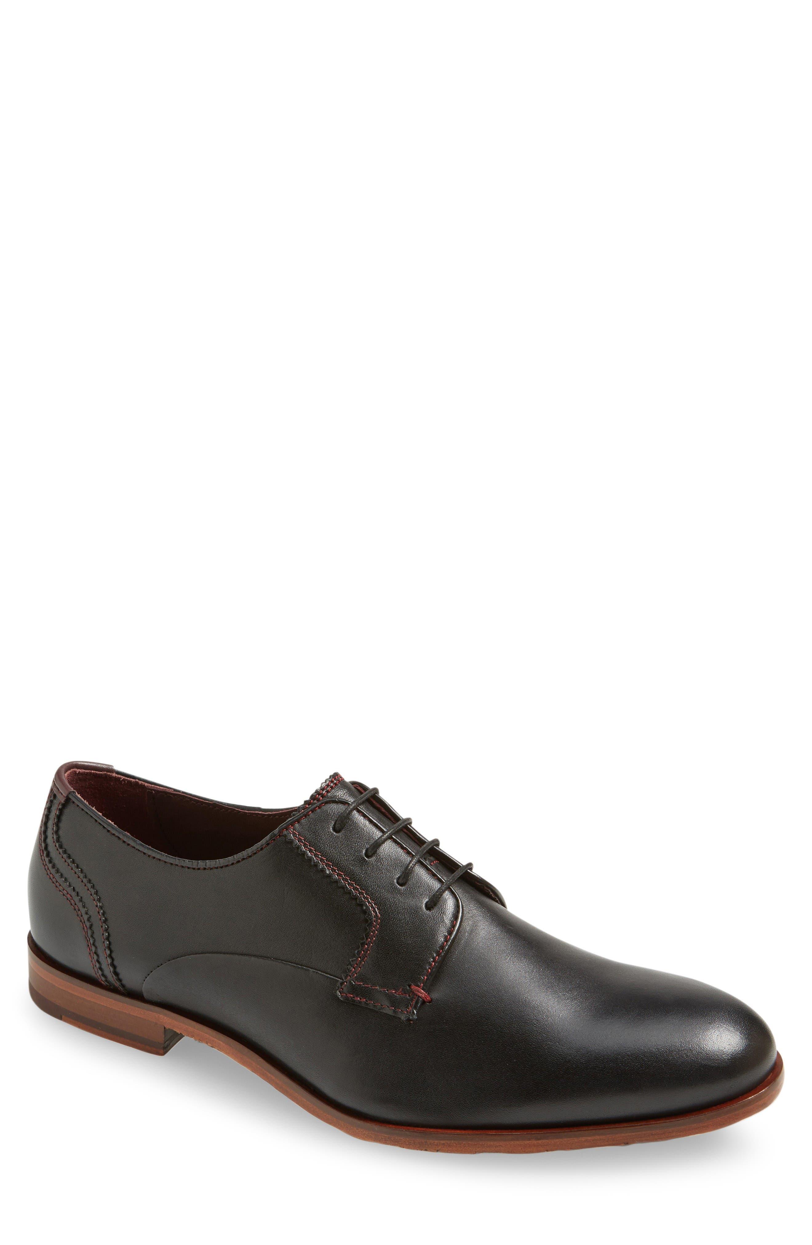 Iront Plain Toe Derby,                             Main thumbnail 1, color,                             Black Leather