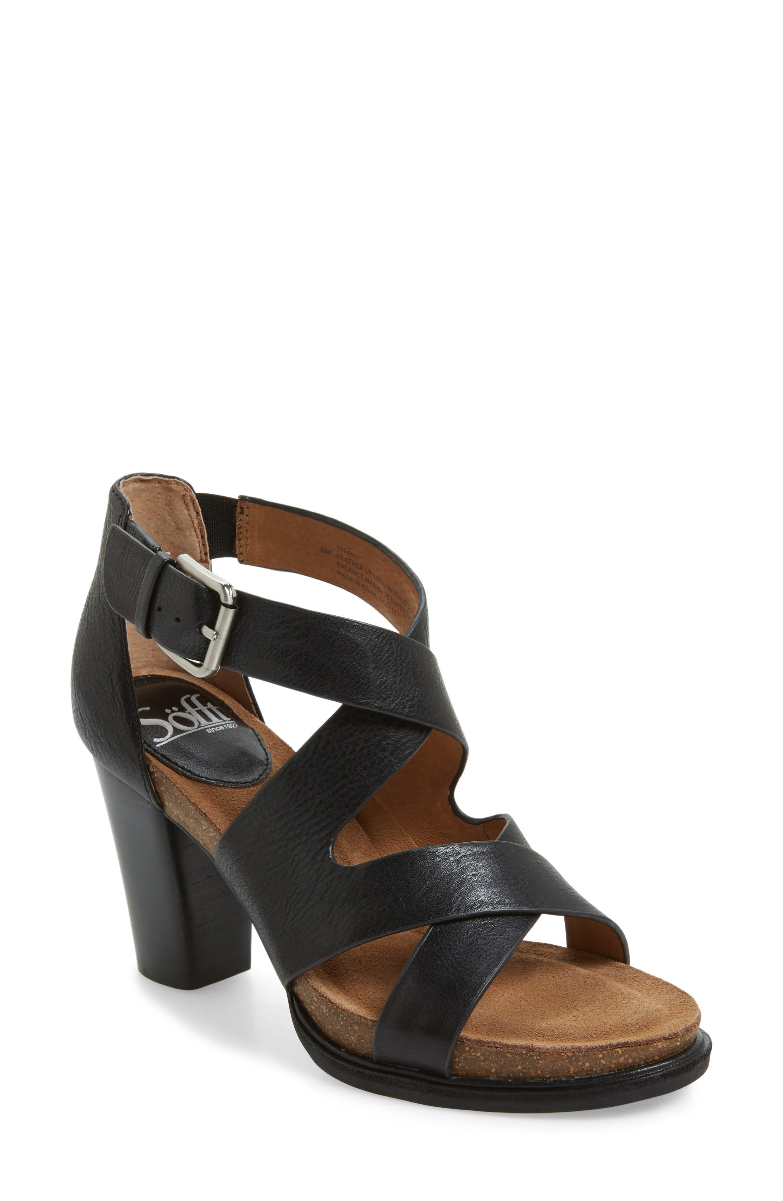 Canita Block Heel Sandal,                             Main thumbnail 1, color,                             Black Leather