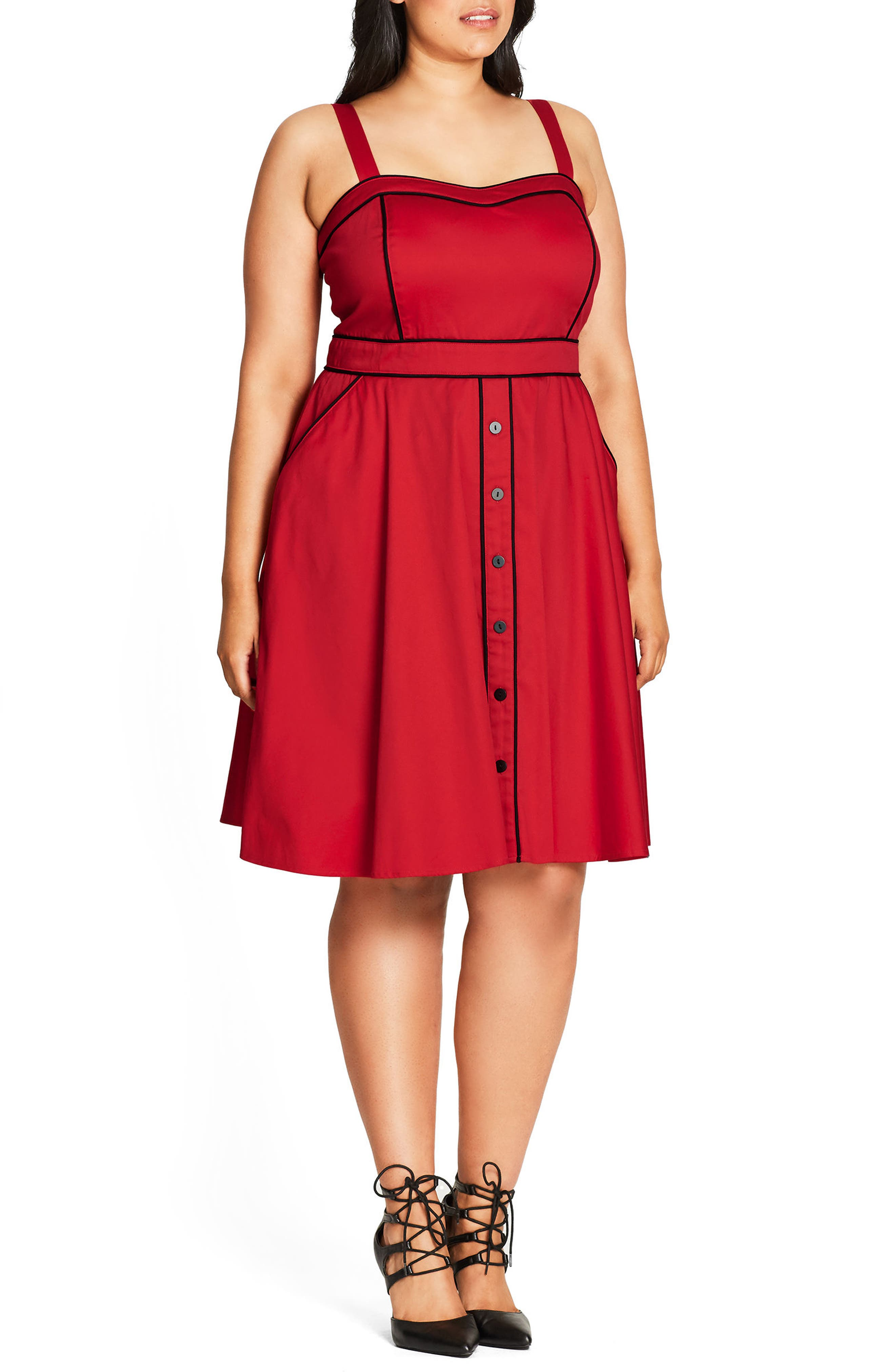 Alternate Image 3  - City Chic Darling Contrast Piped Fit & Flare Sundress