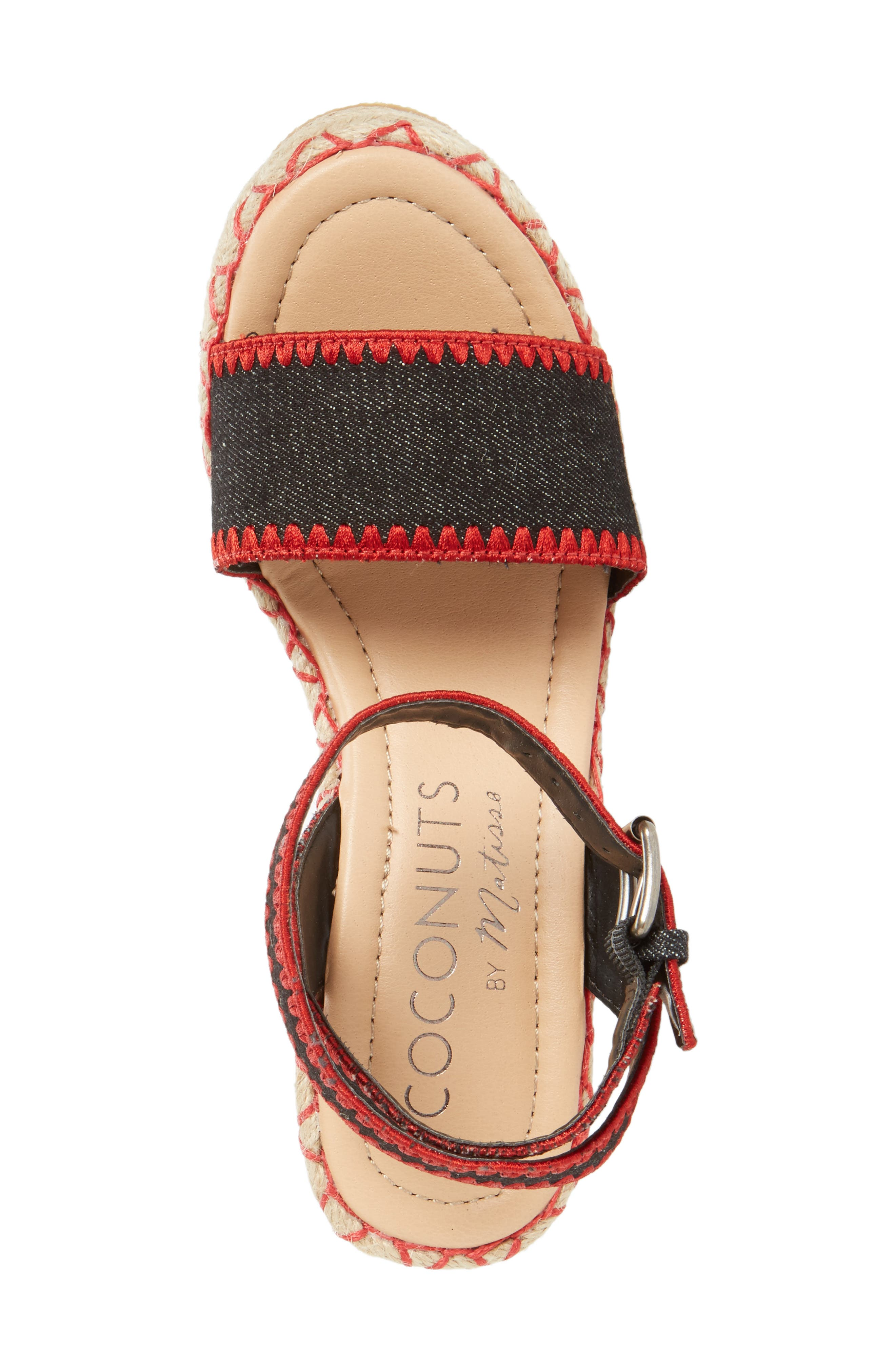 Coconuts by Matisse Frenchie Wedge Sandal,                             Alternate thumbnail 3, color,                             Black Fabric