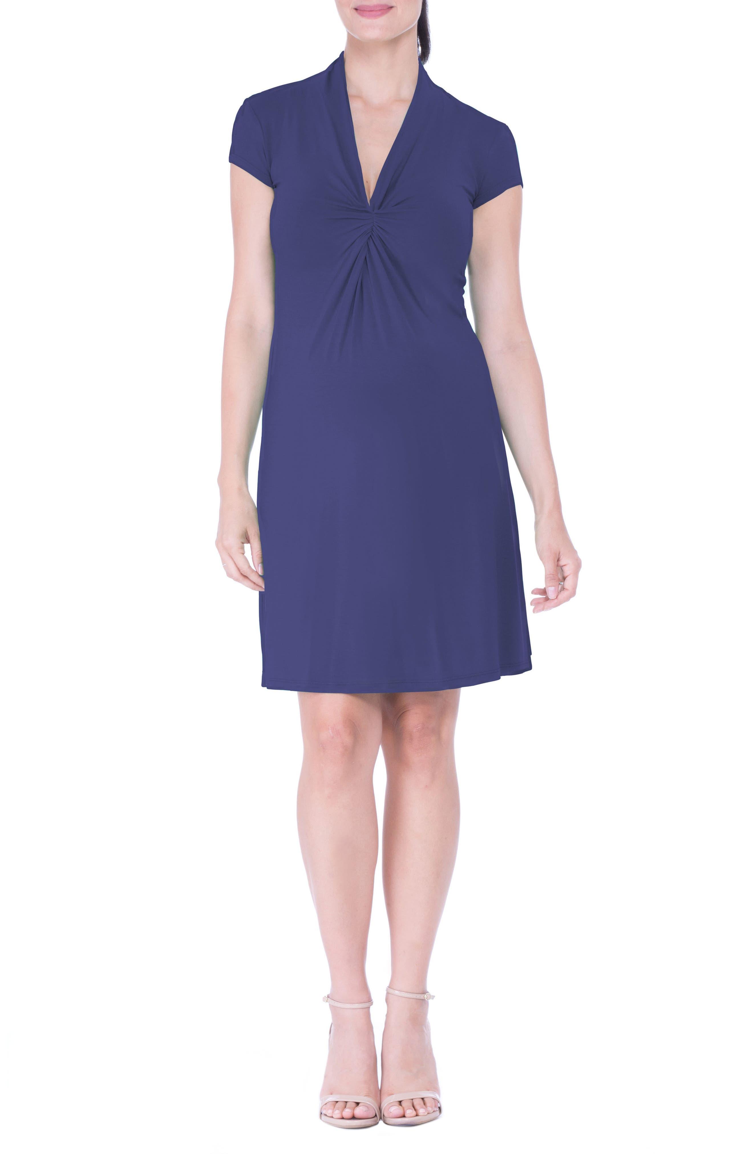 Maternity Wrap Dress,                             Main thumbnail 1, color,                             Blue