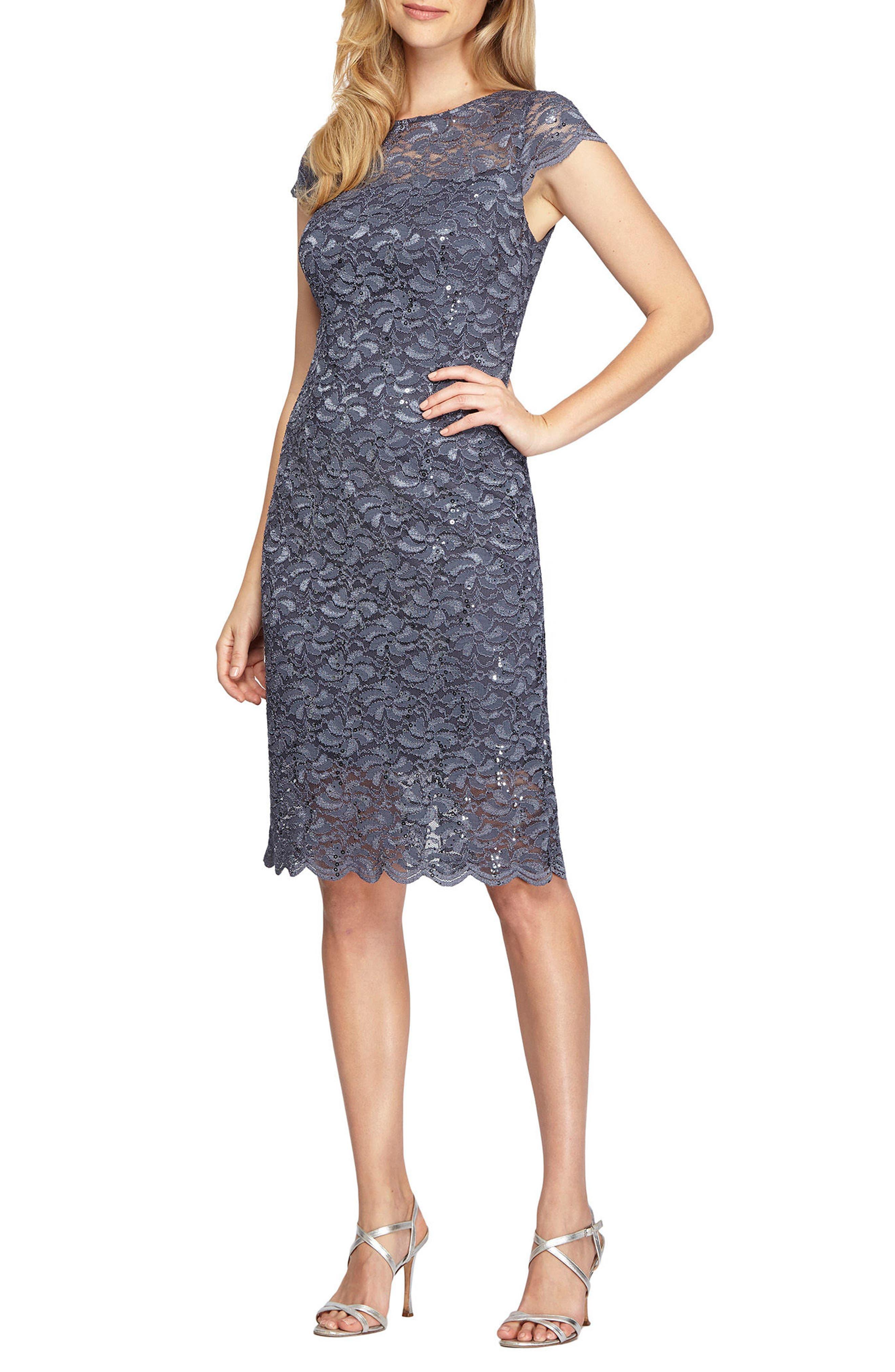 Alex Evenings Lace Sheath Dress (Regular & Petite)