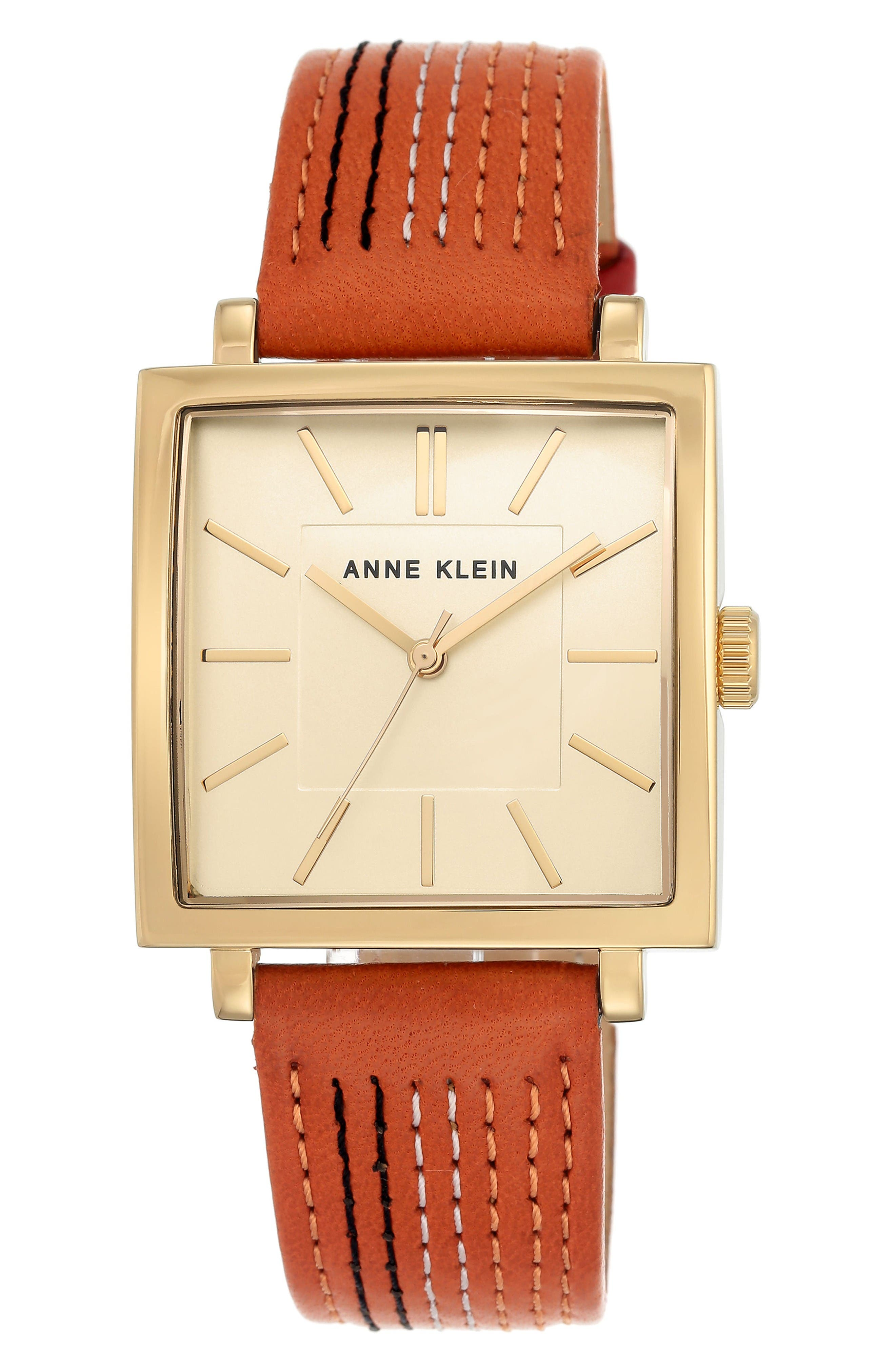Square Leather Strap Watch, 42mm x 34mm,                         Main,                         color, Orange Stitched/ Gold