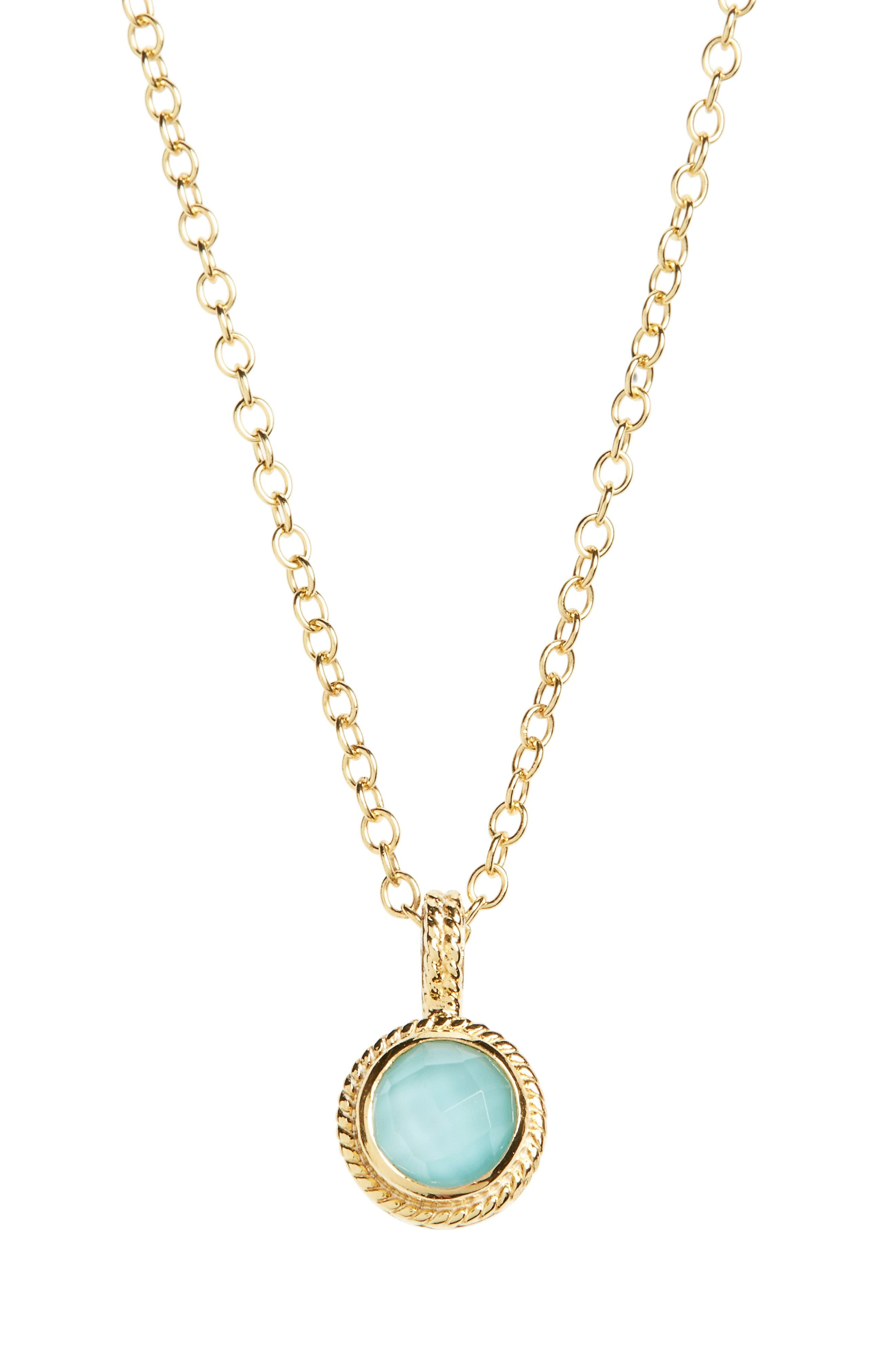 Anna Beck Semiprecious Stone Round Drop Pendant Necklace