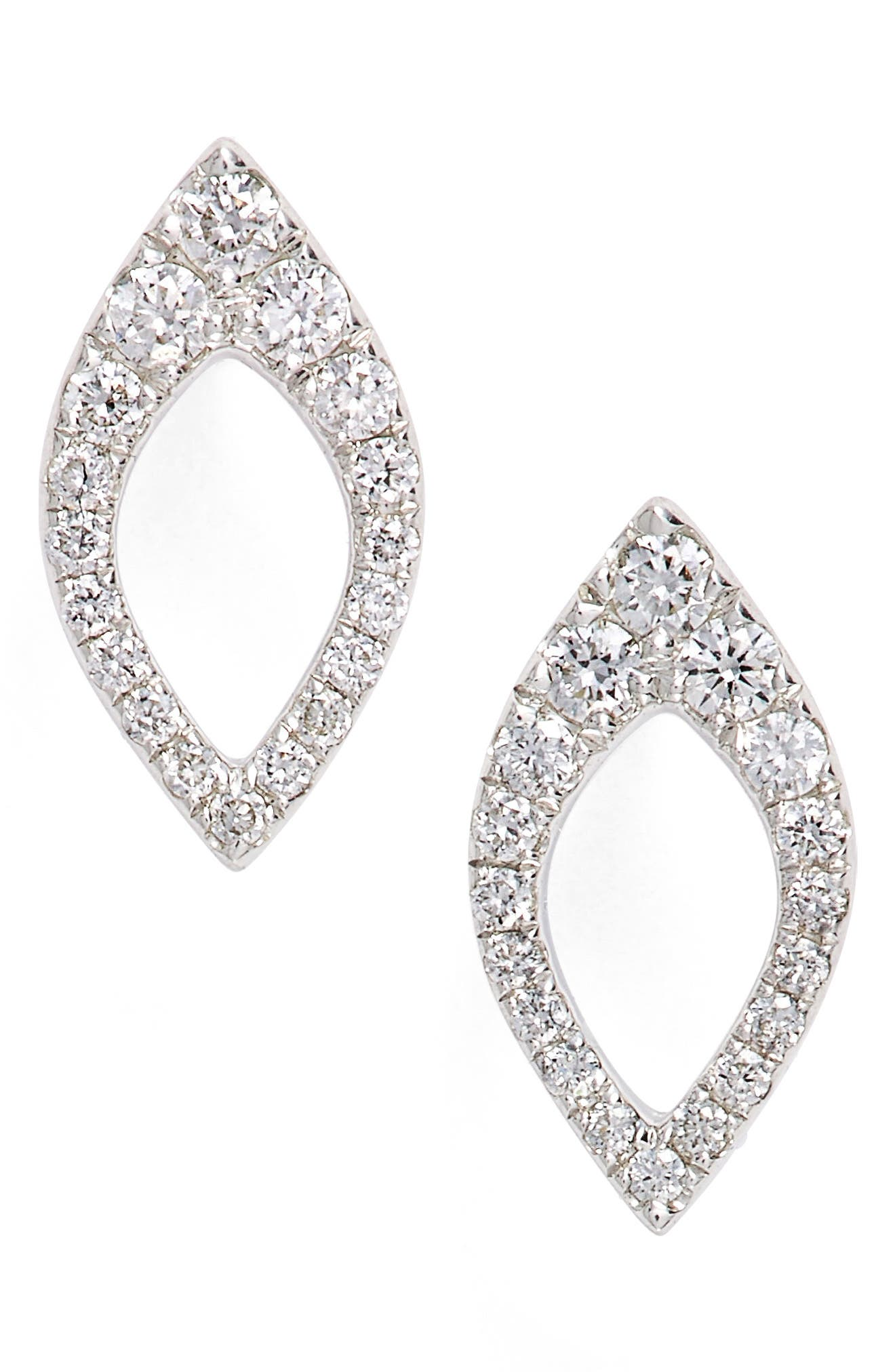 Marquise Diamond Studs,                             Main thumbnail 1, color,                             White Gold
