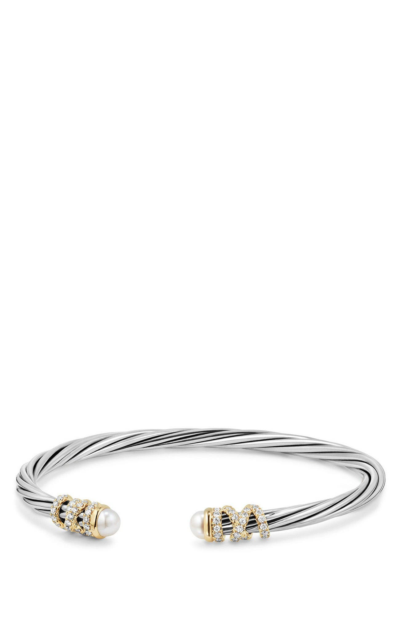 Helena End Station Bracelet with Pearls & Diamonds, 4mm,                         Main,                         color, Pearl