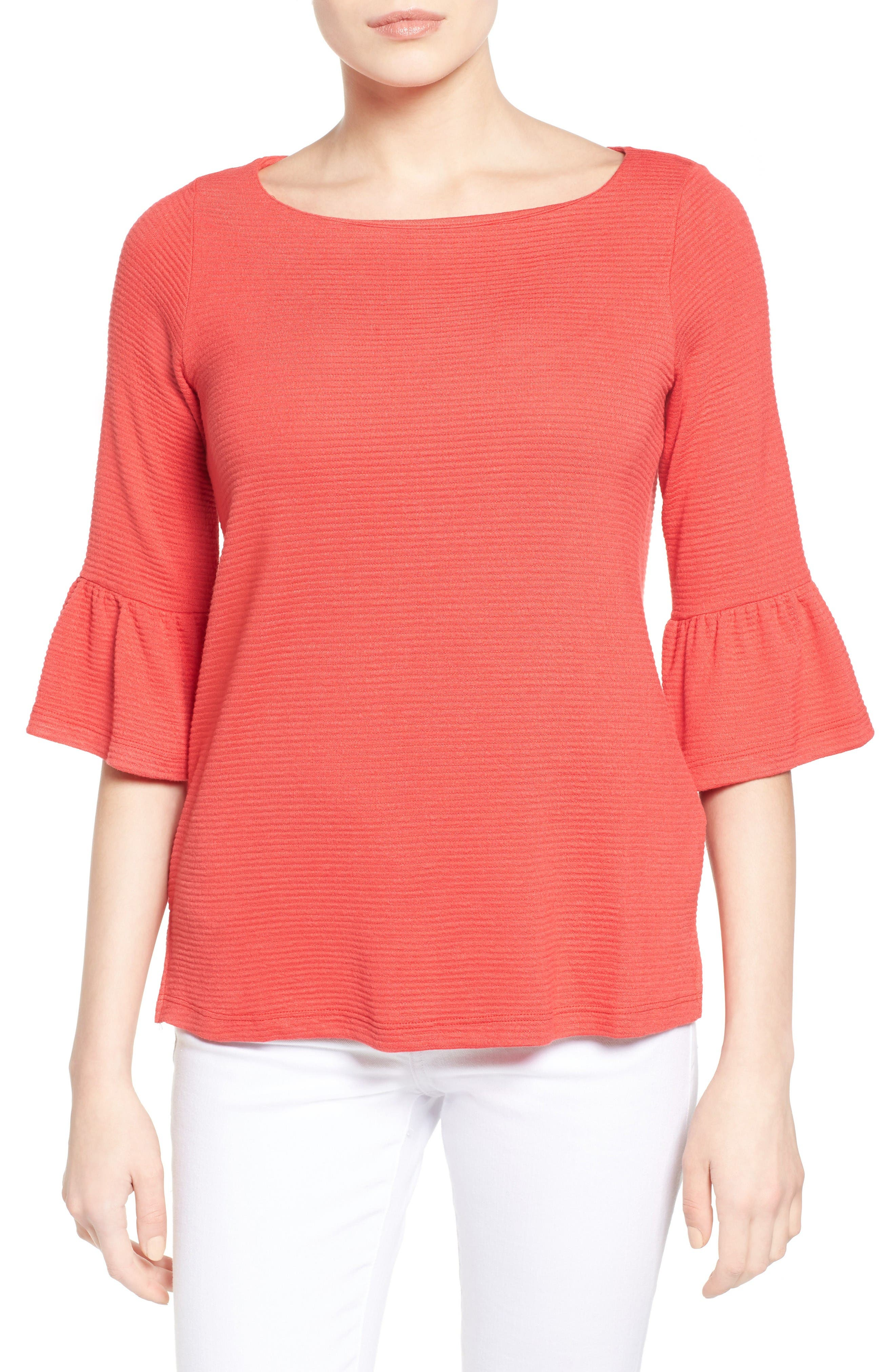 Alternate Image 1 Selected - Pleione Stripe Knit Bell Sleeve Top (Regular & Petite)