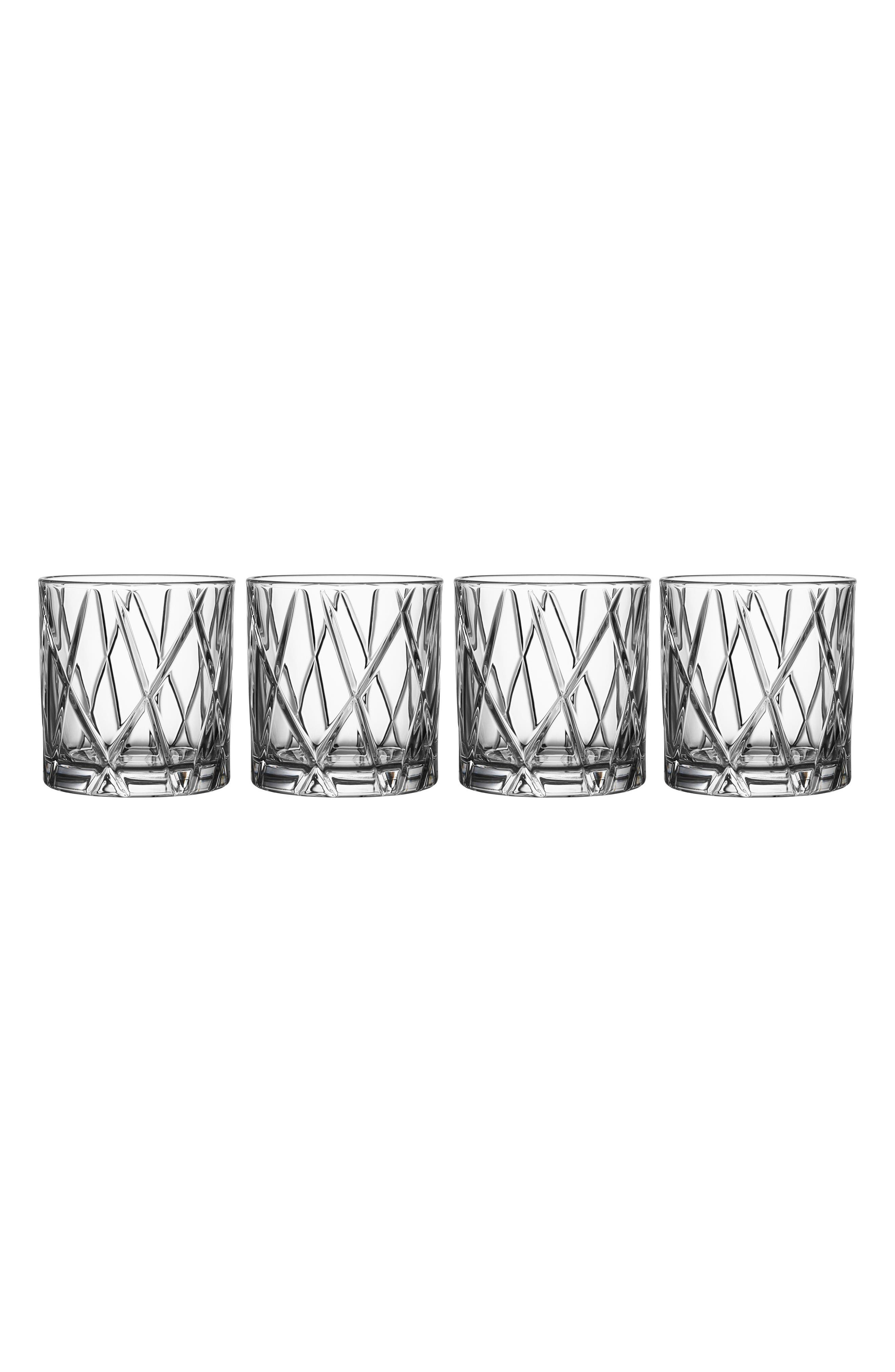 City Set of 4 Crystal Double Old Fashioned Glasses,                         Main,                         color, Clear