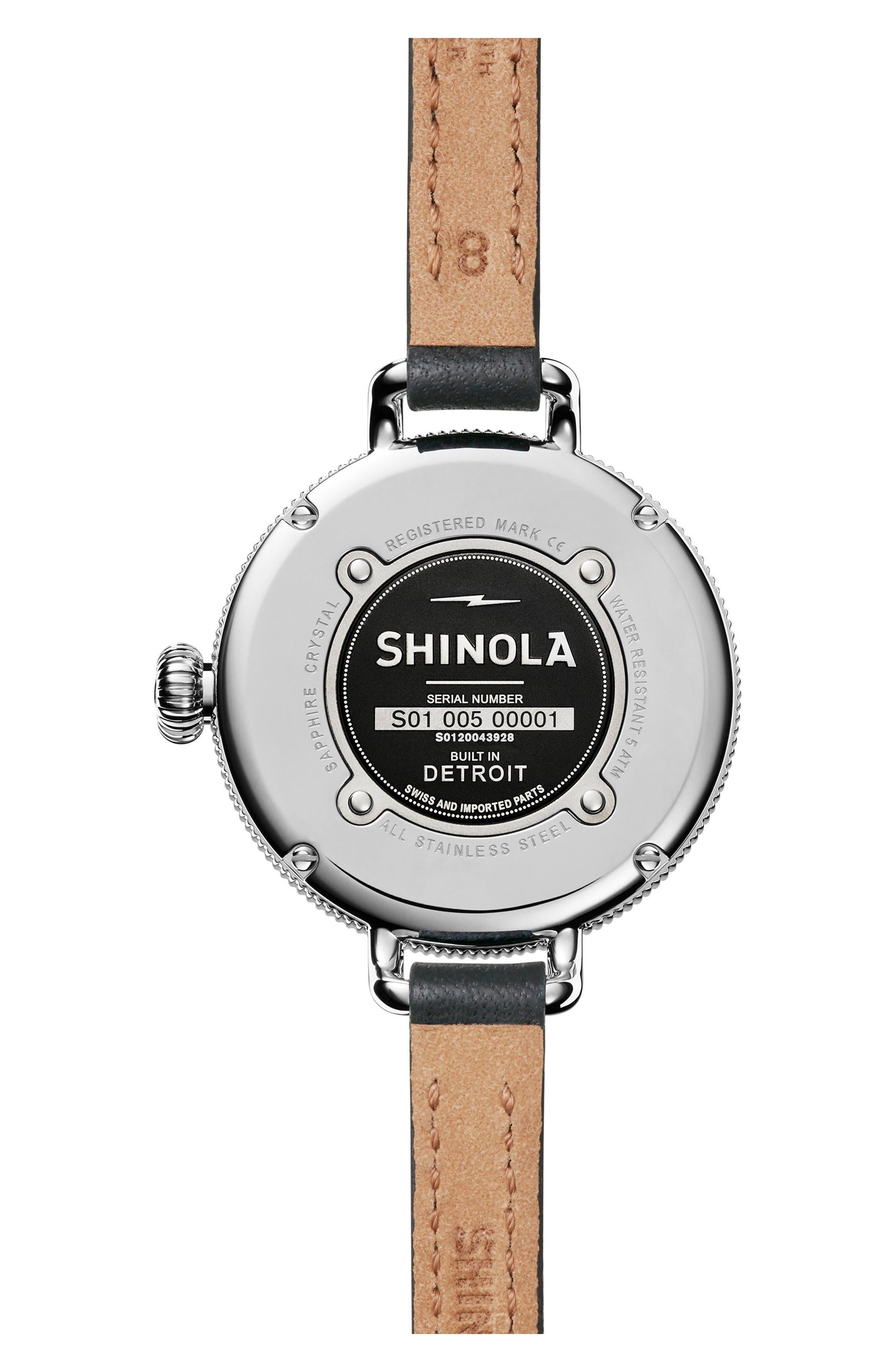 Alternate Image 2  - Shinola The Birdy Leather Strap Watch, 34mm
