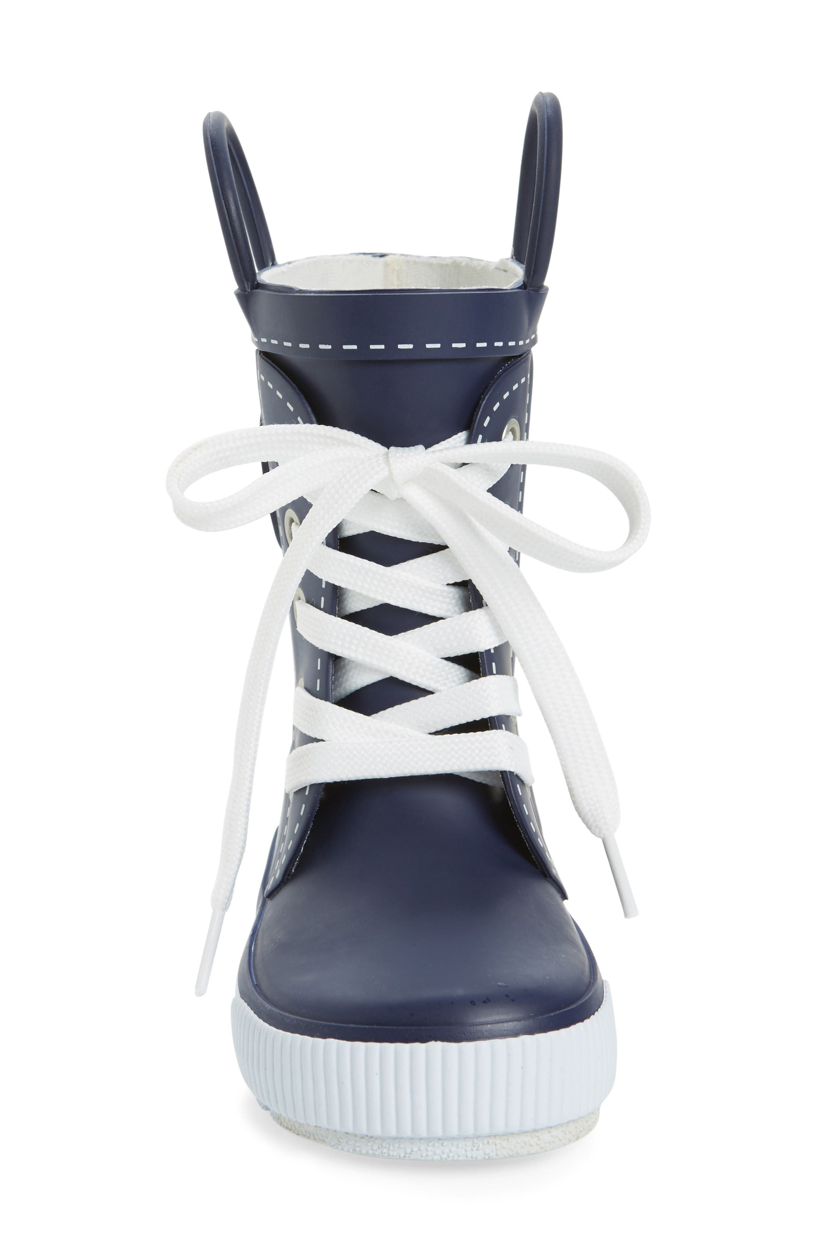Waterproof Sneaker Rain Boot,                             Alternate thumbnail 3, color,                             Navy