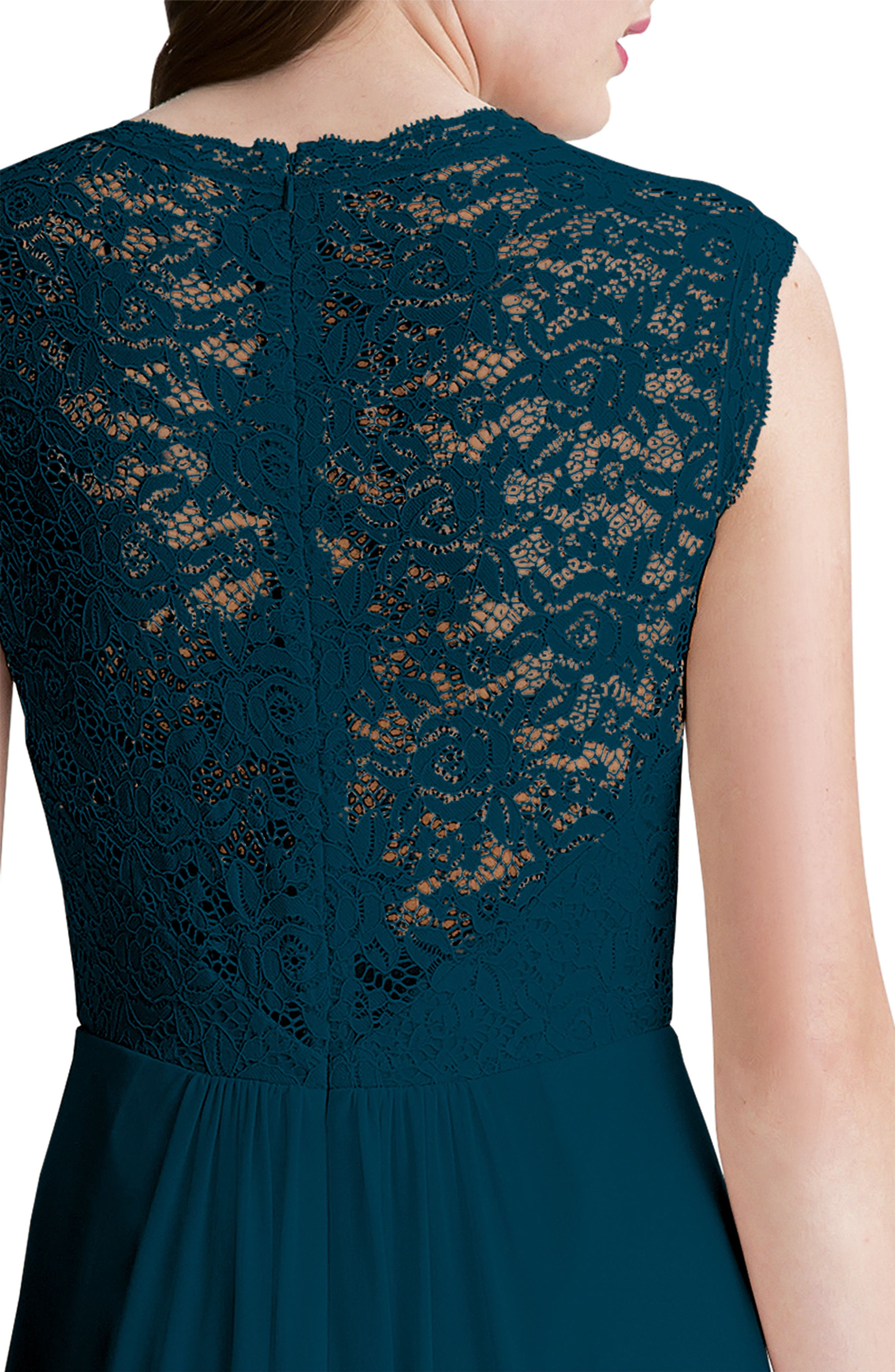 Alternate Image 3  - #Levkoff Lace Bodice A-Line Gown