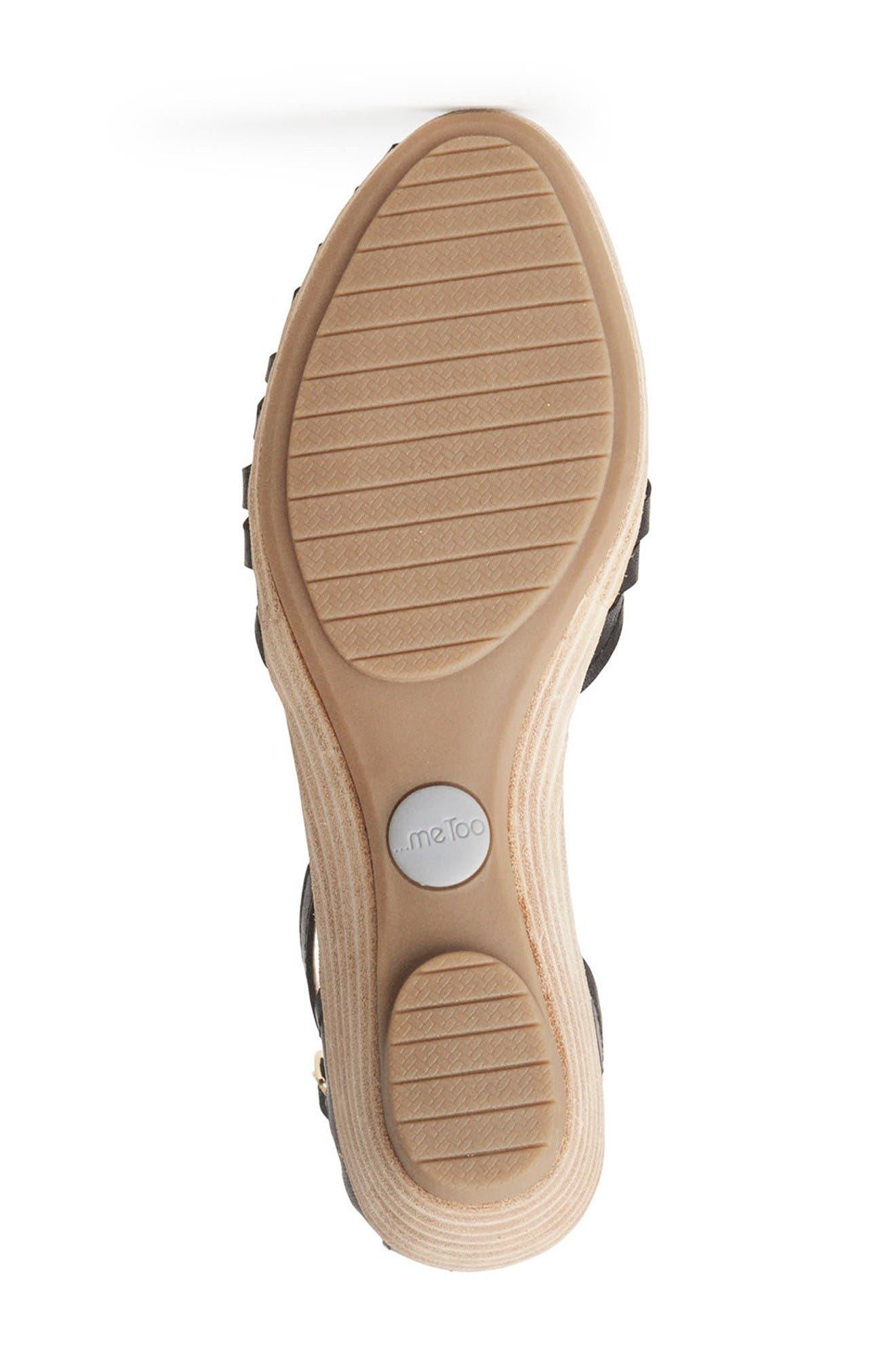 Nalani Ankle Strap Sandal,                             Alternate thumbnail 4, color,                             Black Leather