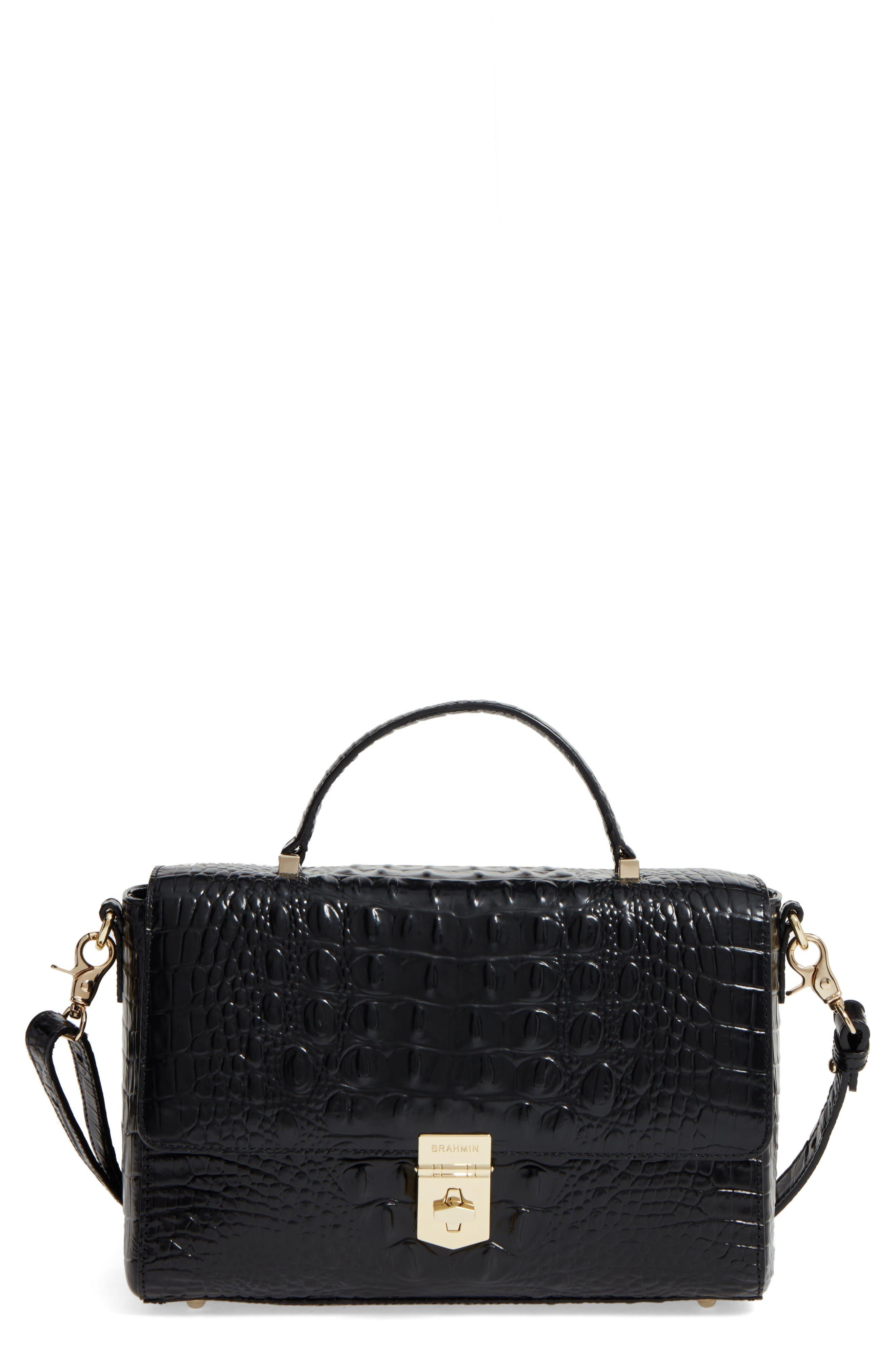 Danielle Leather Top Handle Satchel,                             Main thumbnail 1, color,                             Black