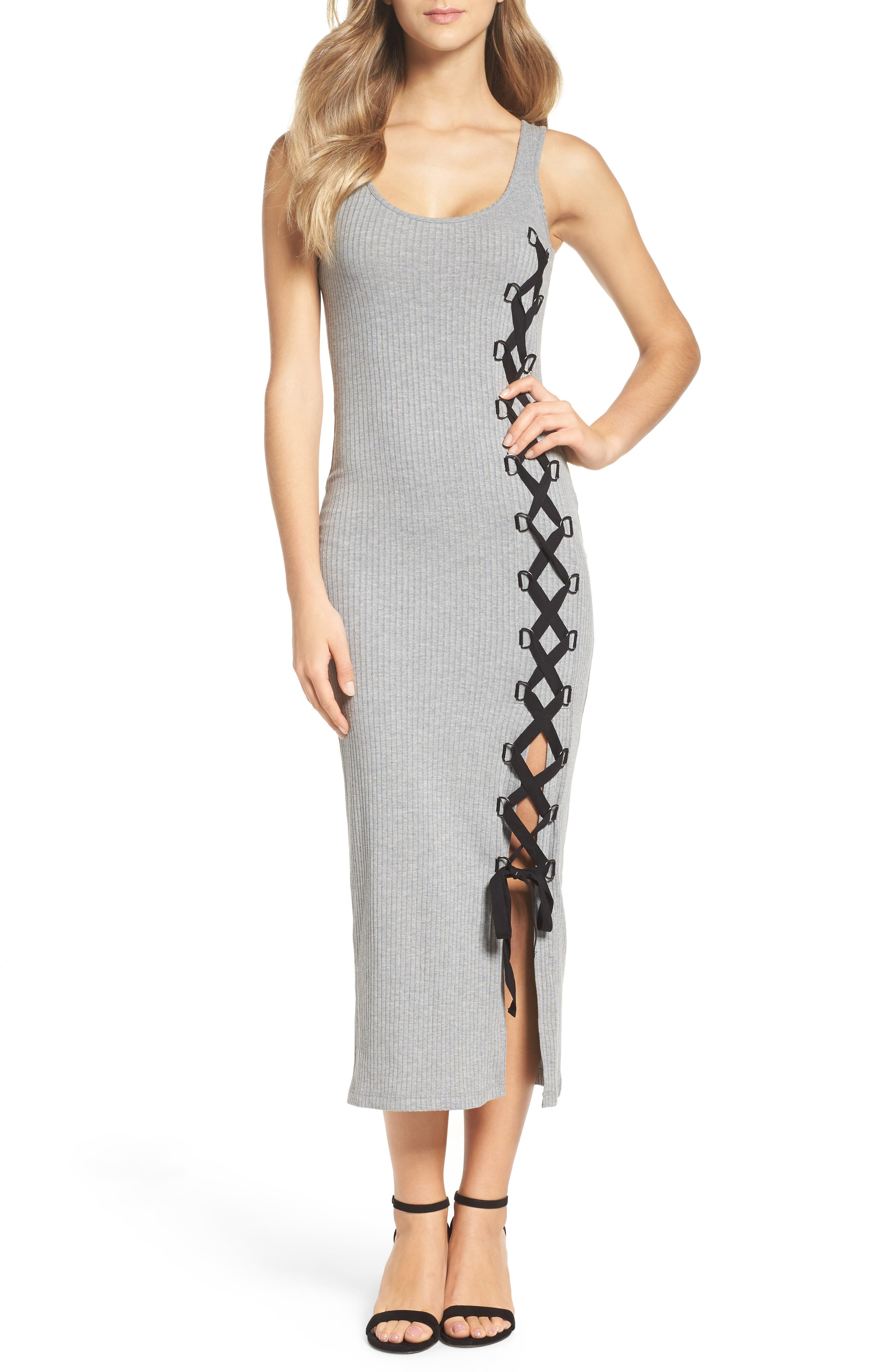 Tommy Lace-Up Midi Dress,                             Main thumbnail 1, color,                             Light Grey