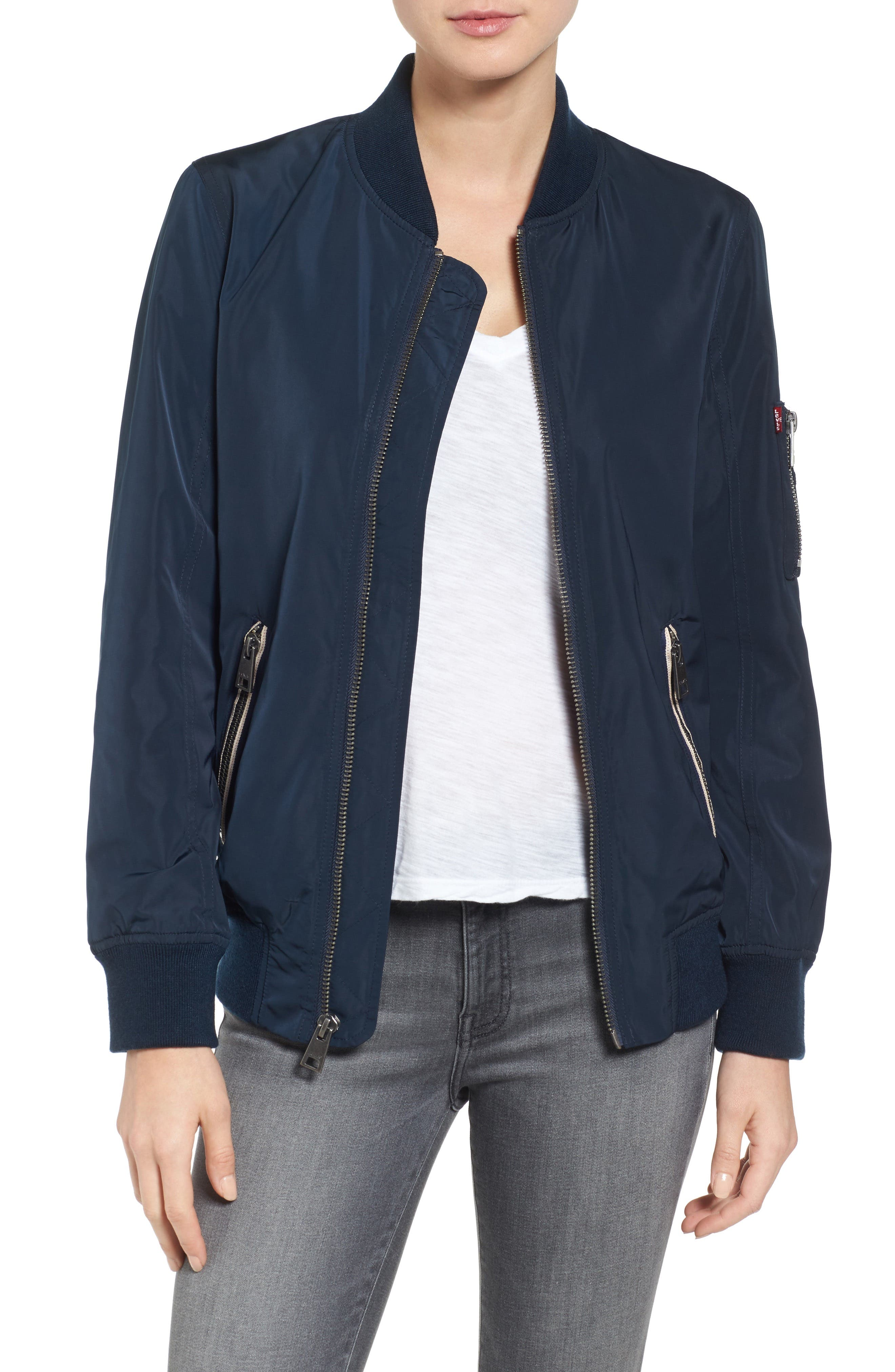 Levi's MA-1 Satin Bomber Jacket,                             Main thumbnail 1, color,                             Navy