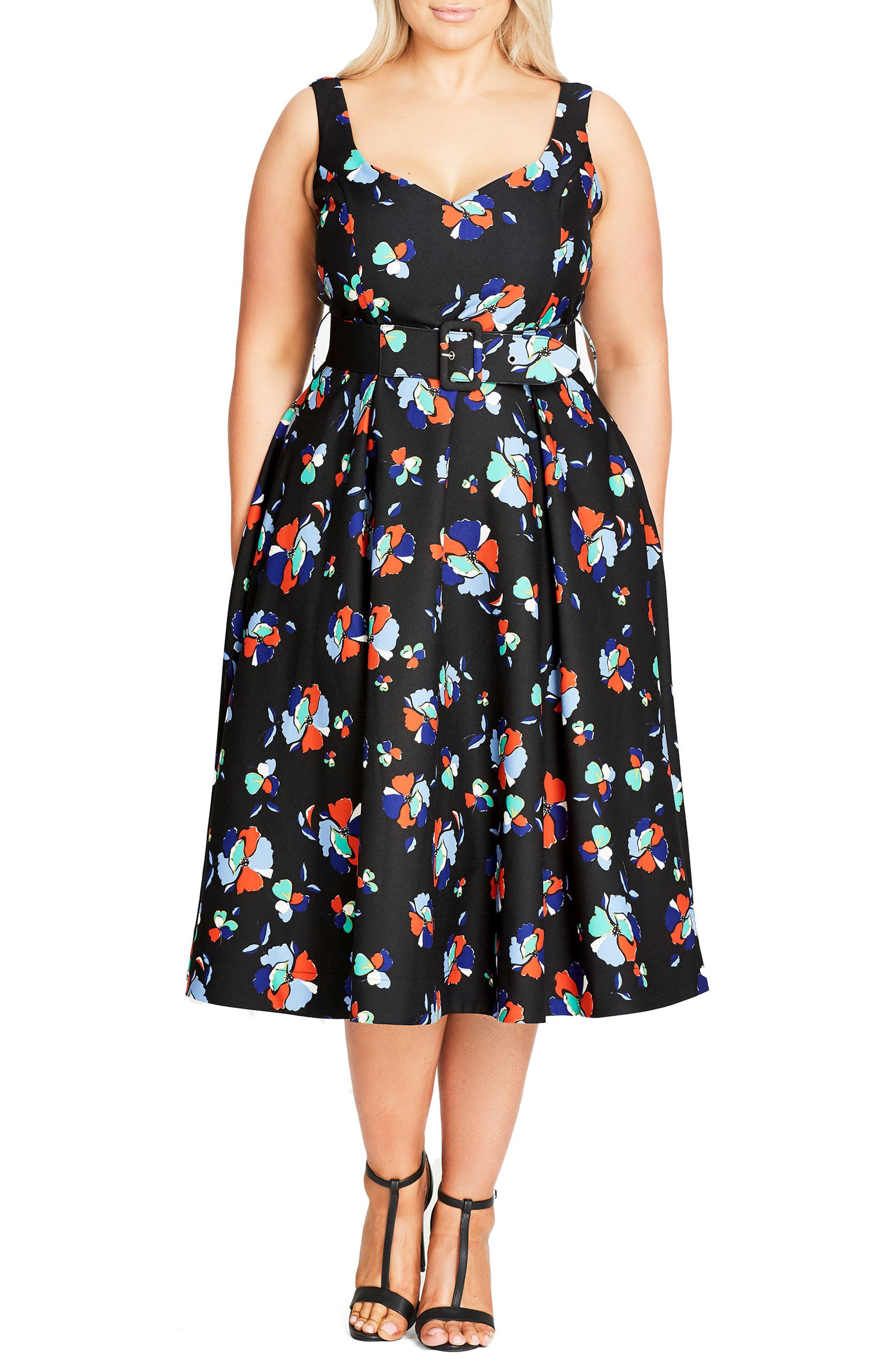Sweet Belted Tea Length Dress,                         Main,                         color, Blue Cobalt