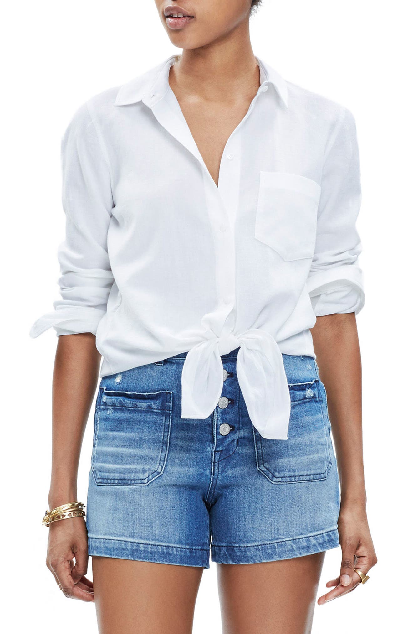 Tie Front Shirt,                         Main,                         color, Eyelet White