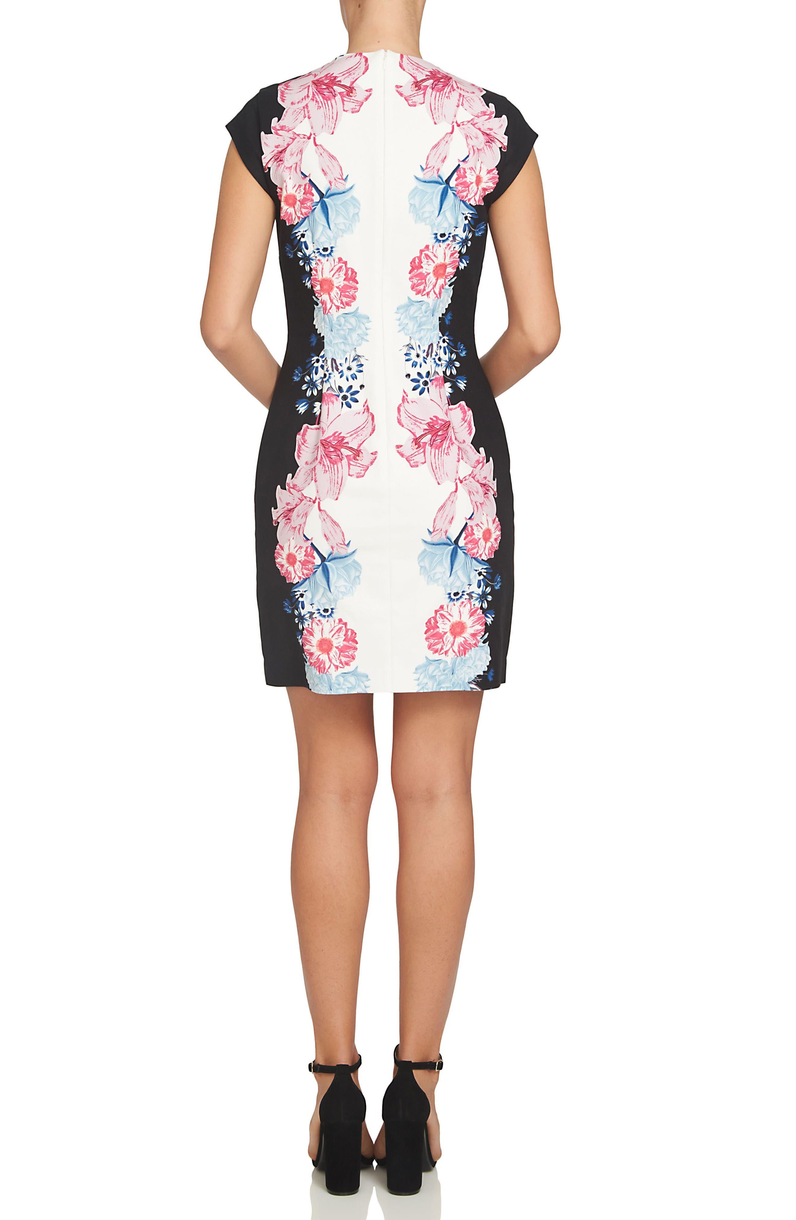 Alternate Image 2  - CeCe Colorblock Floral Sheath Dress