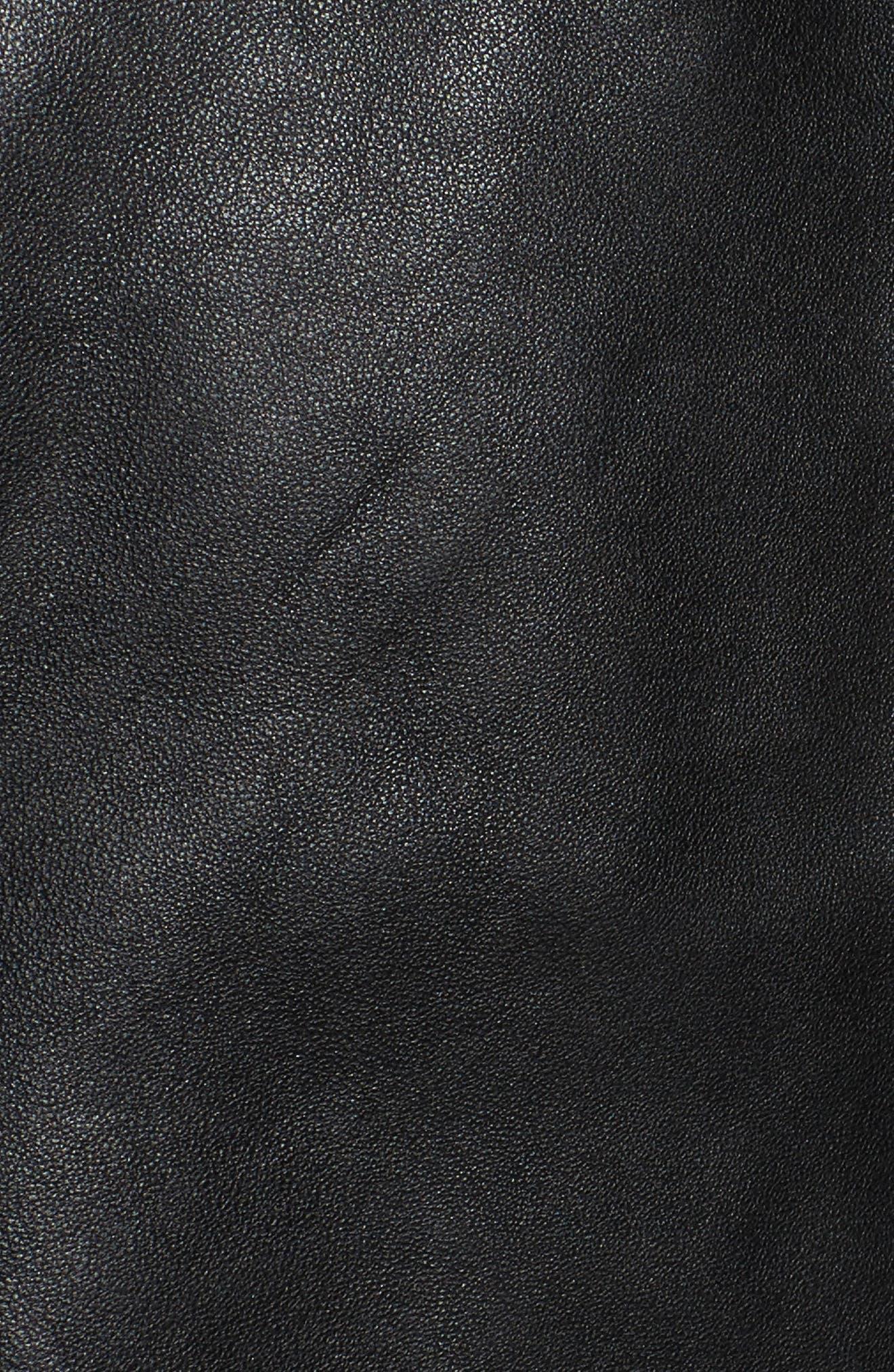 Whitney Washed Leather Crop Jacket,                             Alternate thumbnail 6, color,                             Black
