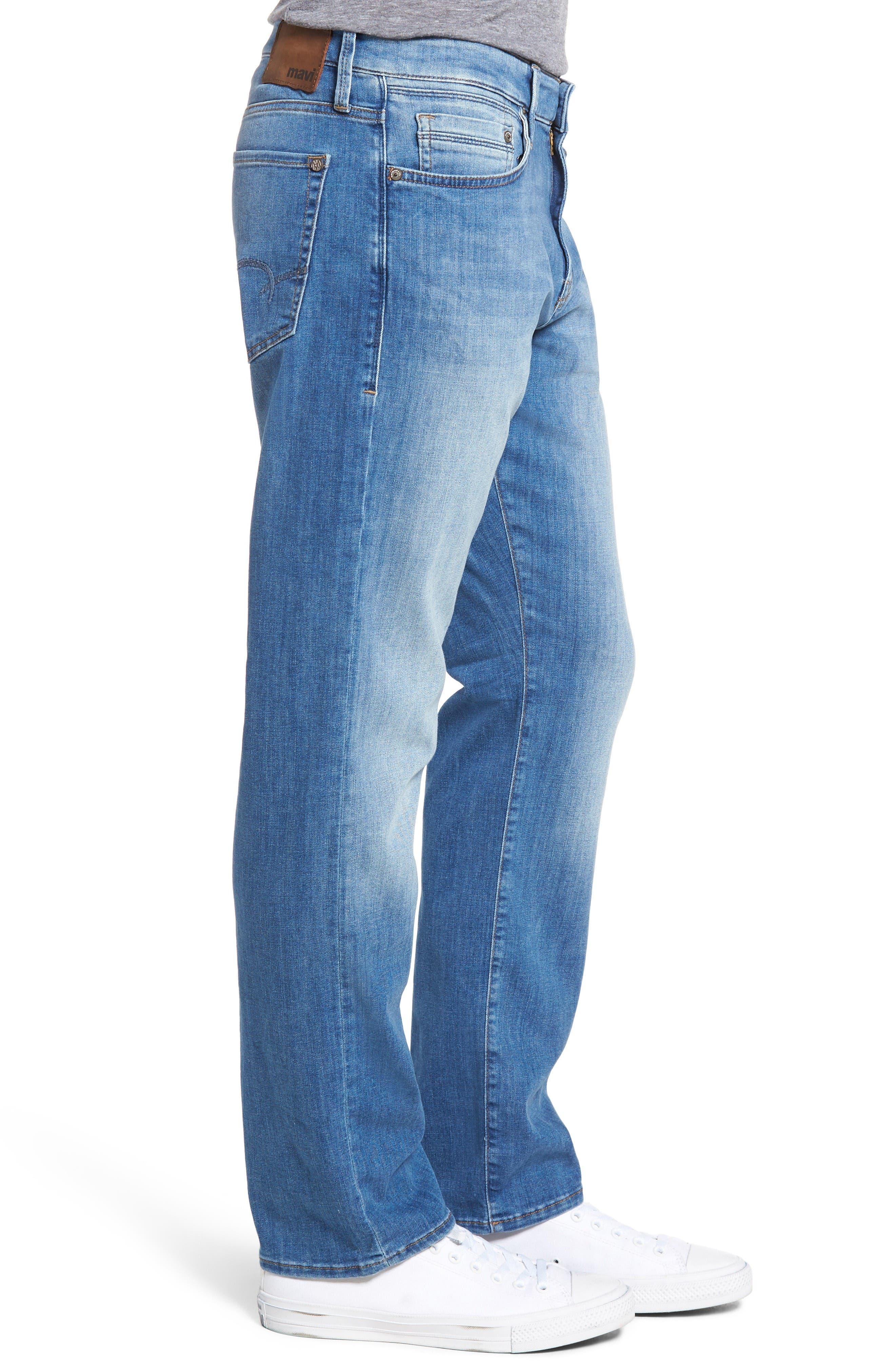 Myles Straight Leg Jeans,                             Alternate thumbnail 3, color,                             Mid Blue Portland