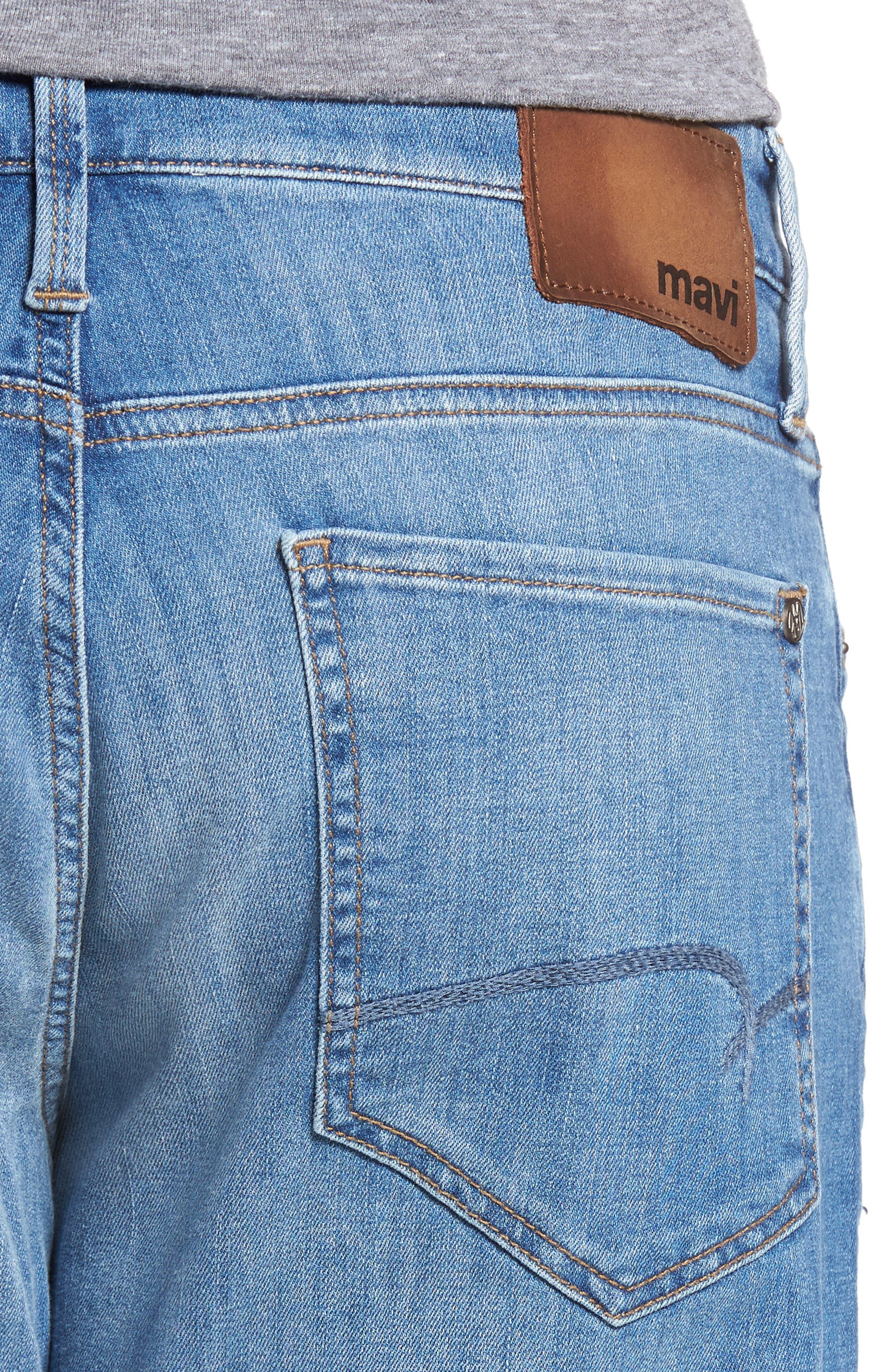 Myles Straight Leg Jeans,                             Alternate thumbnail 4, color,                             Mid Blue Portland