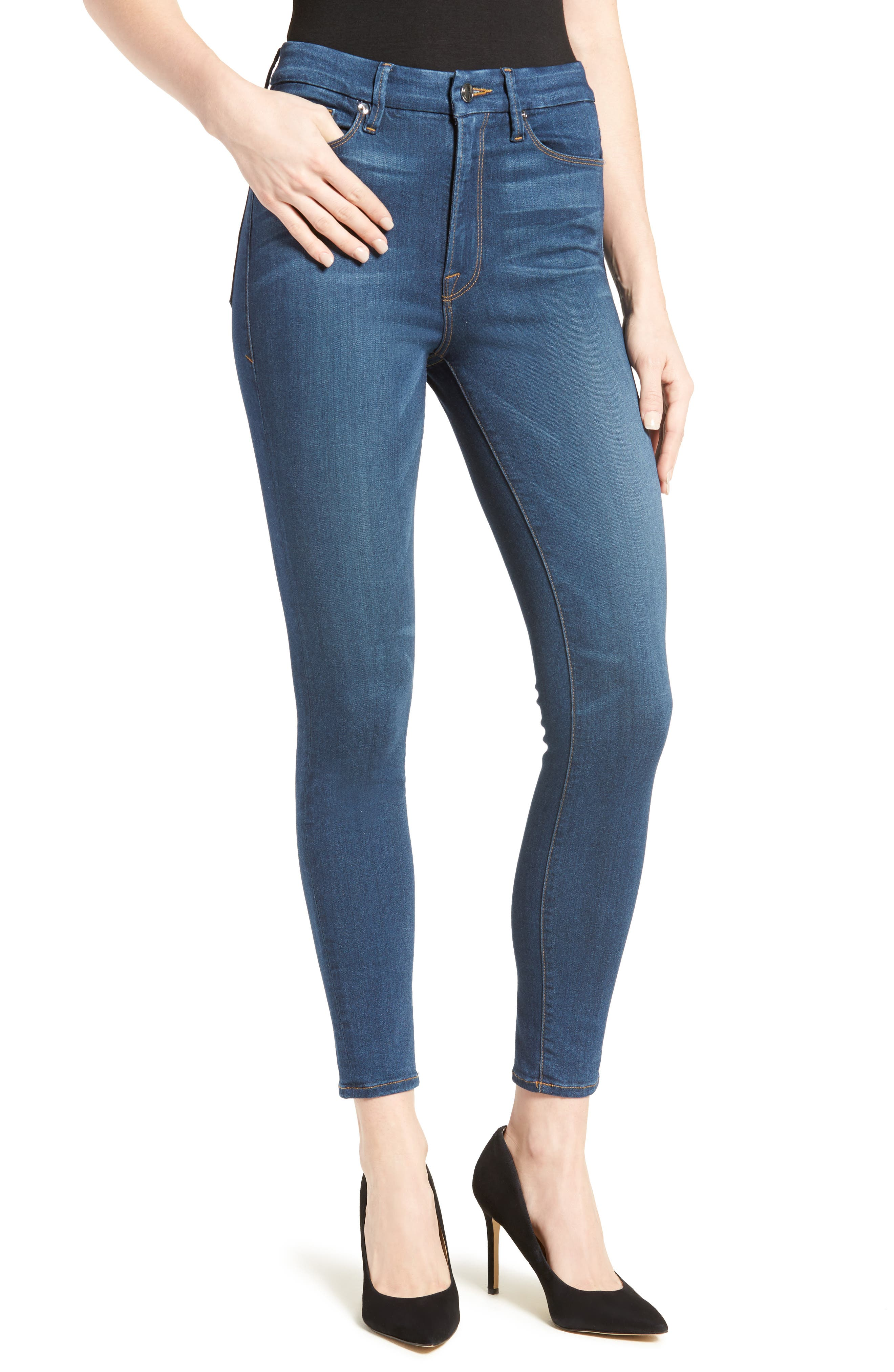 Main Image - Good American Good Waist High Rise Skinny Jeans (Blue 013) (Regular & Plus Size)