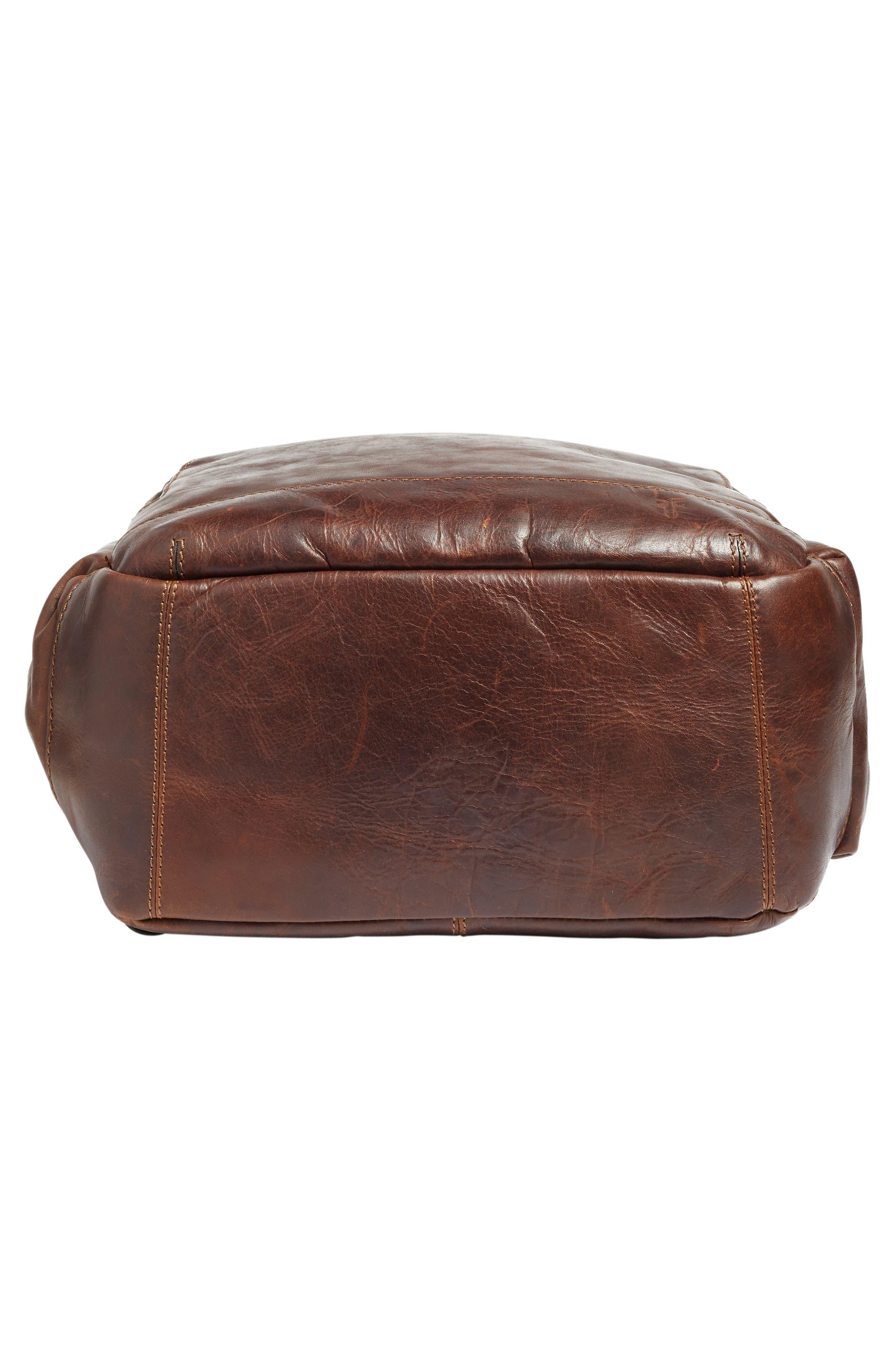 'Logan' Leather Backpack,                             Alternate thumbnail 6, color,                             Dark Brown