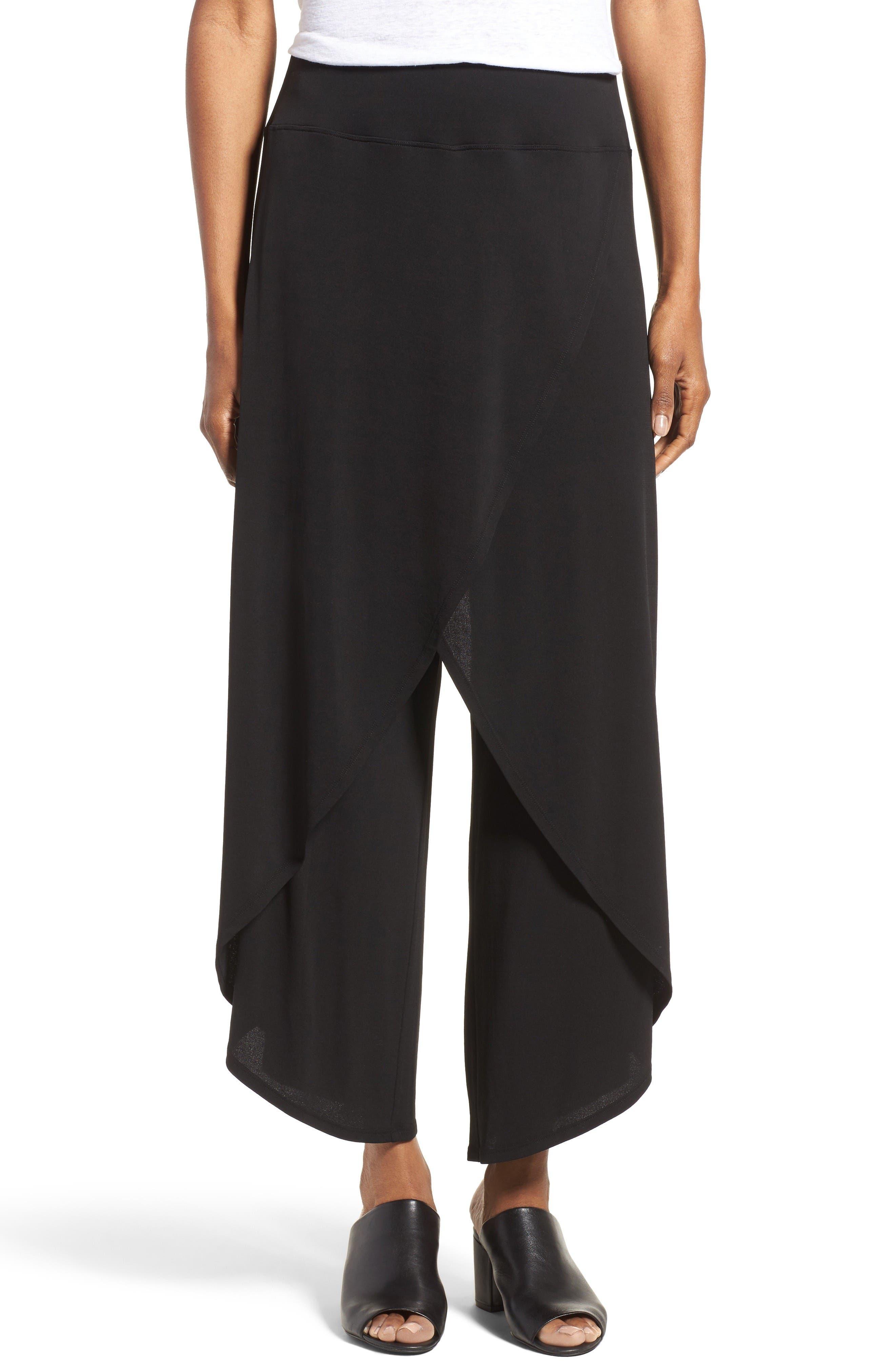 Main Image - Eileen Fisher Silk Cross Front Wide Leg Pants