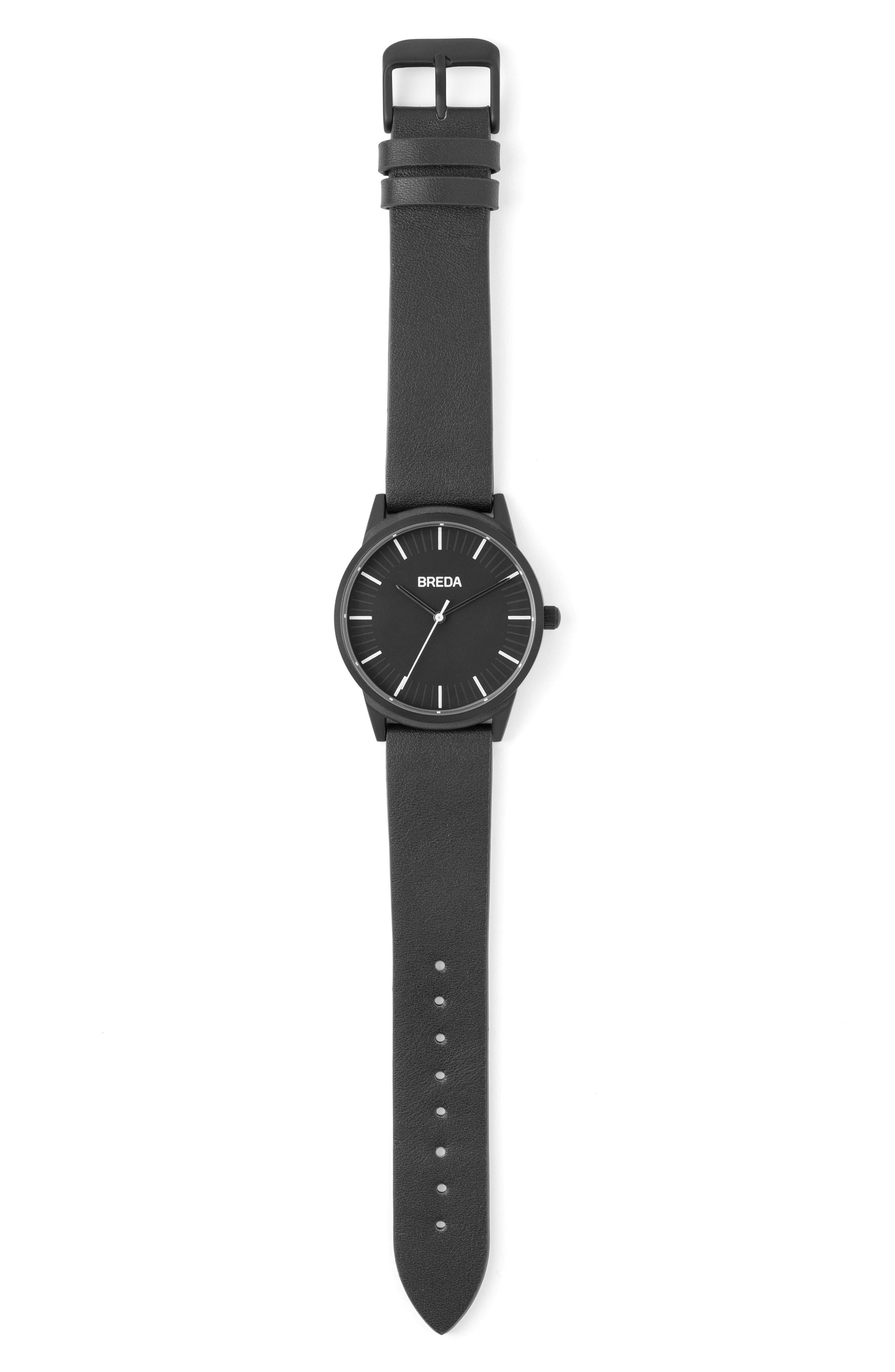 Bresson Leather Strap Watch, 42mm,                             Alternate thumbnail 3, color,                             Black/ Black