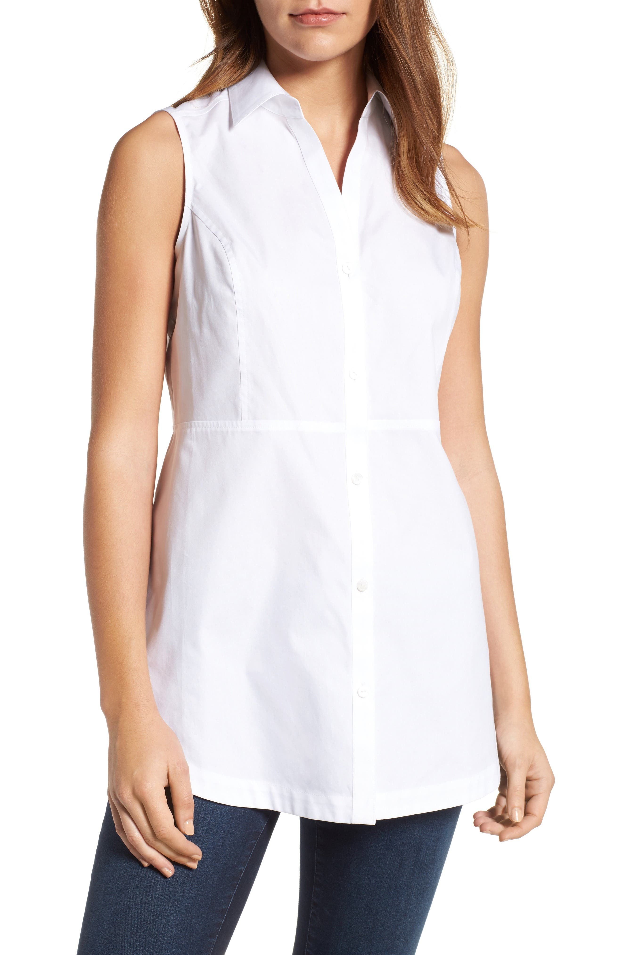Alternate Image 1 Selected - Foxcroft Sleeveless Cotton Tunic (Regular & Petite)