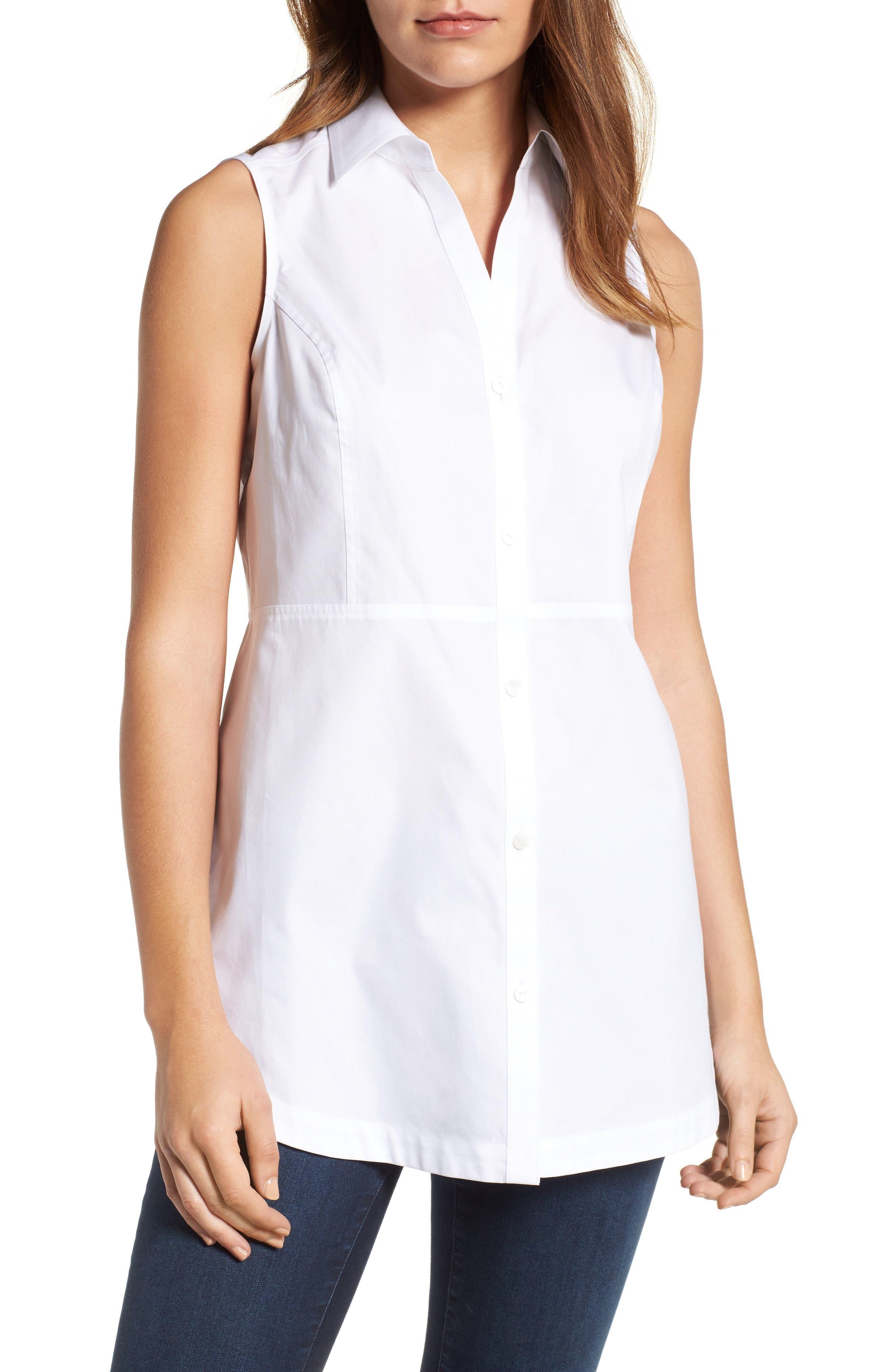 Main Image - Foxcroft Sleeveless Cotton Tunic (Regular & Petite)
