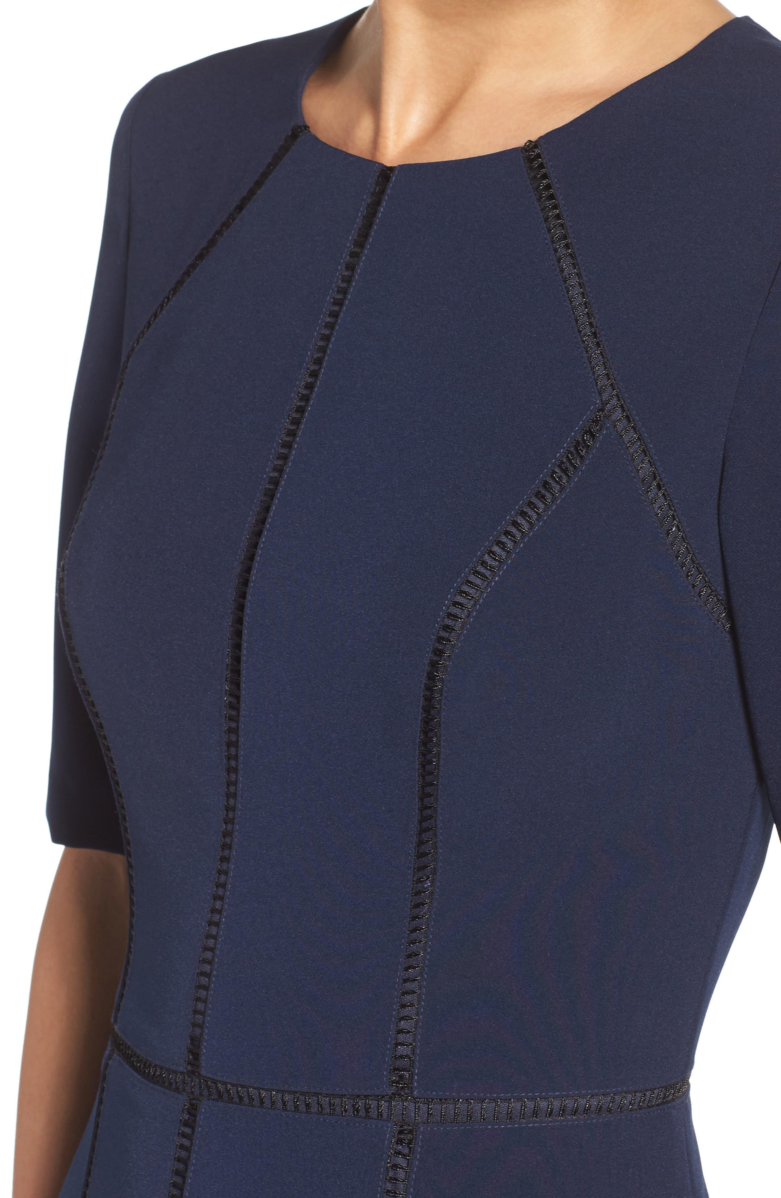 Solid Dream Crepe Dress,                             Alternate thumbnail 4, color,                             Patriot Blue