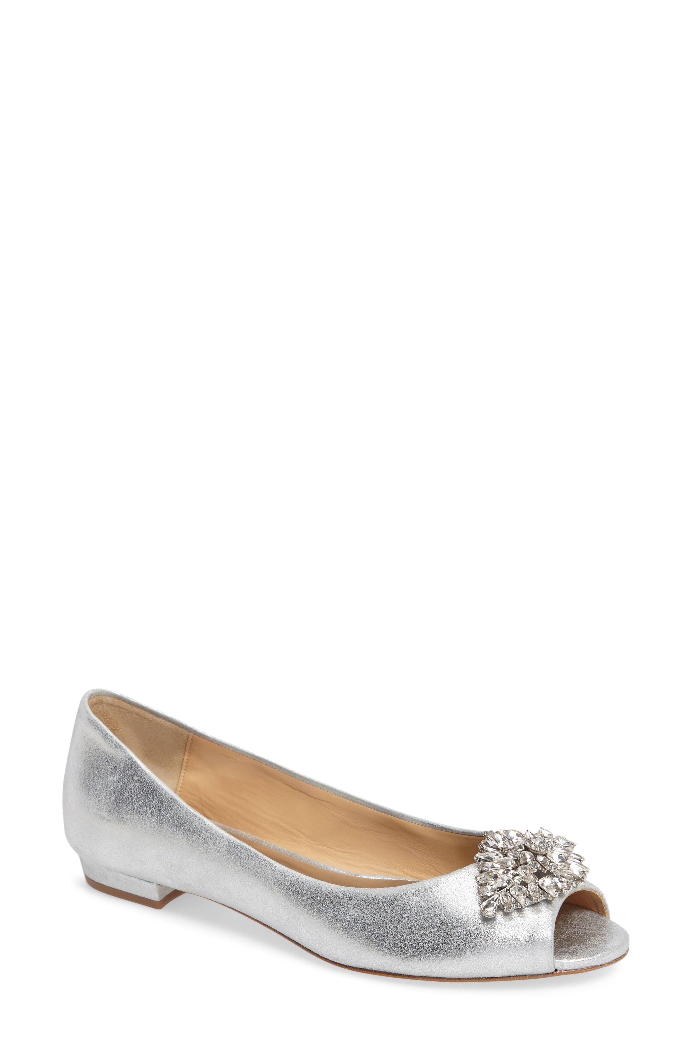 Taft Peep Toe Flat,                             Main thumbnail 1, color,                             Silver Metallic Suede