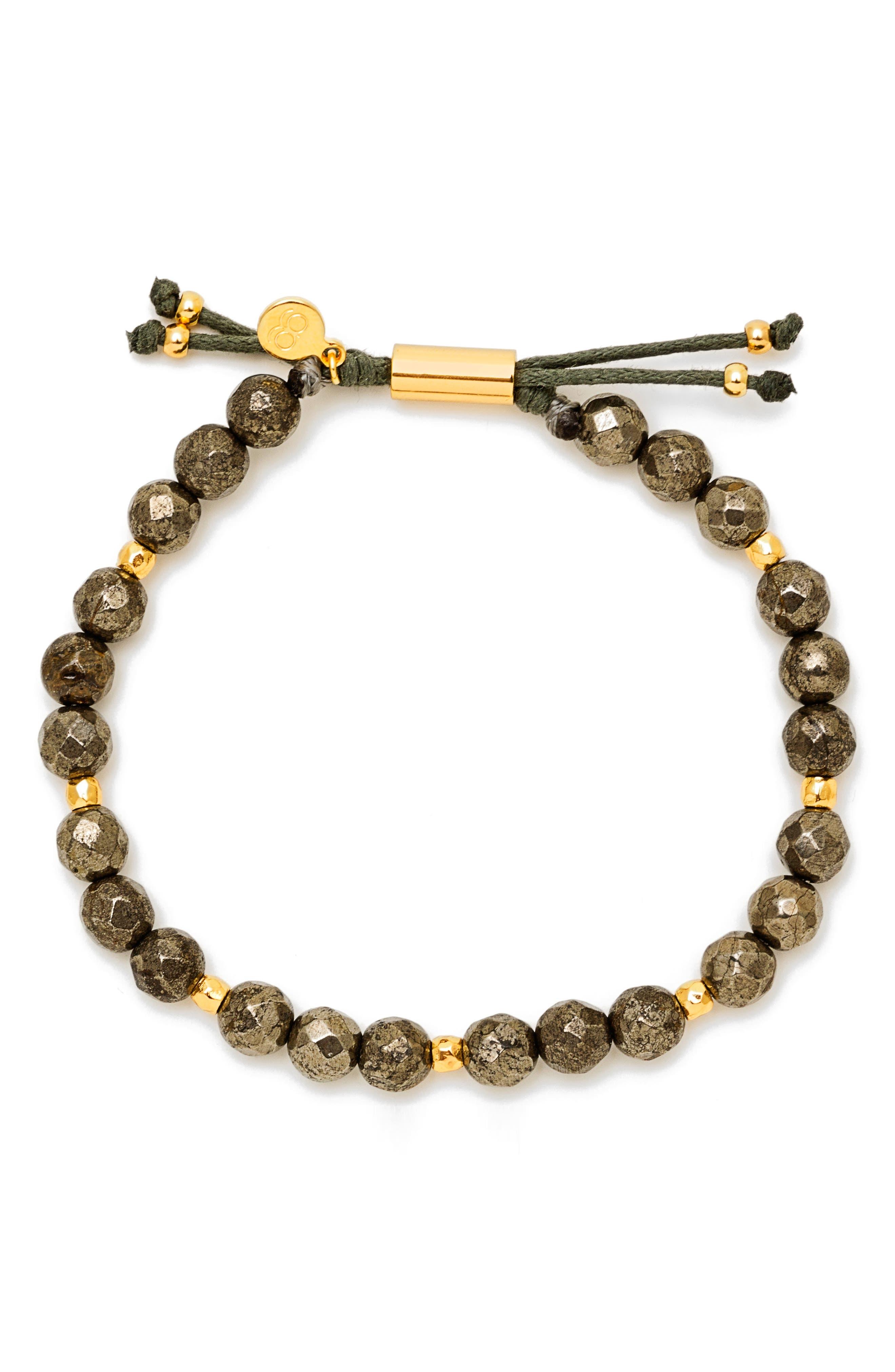 Power Gemstone Beaded Bracelet,                             Main thumbnail 1, color,                             Pyrite / Gold