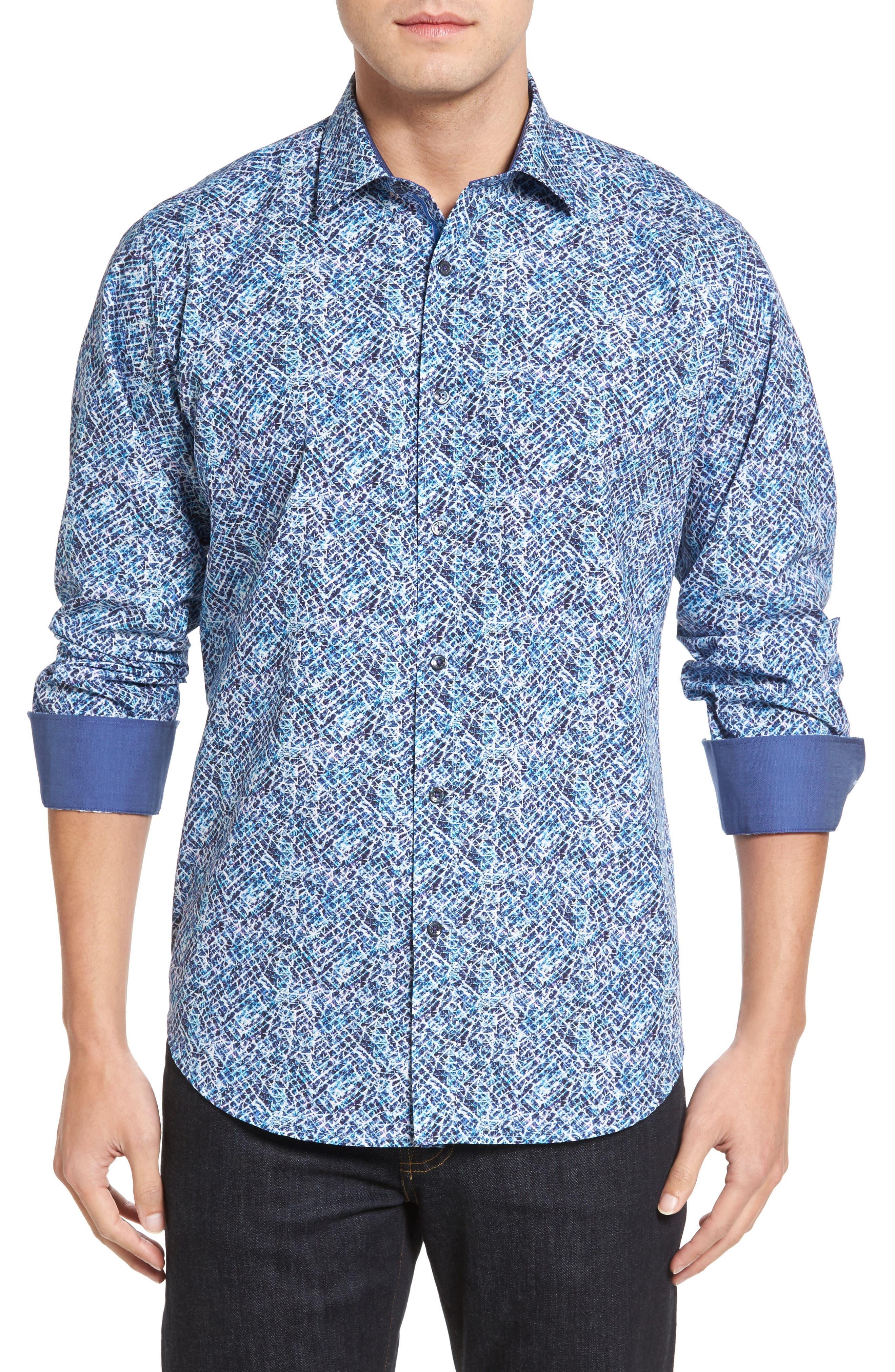 Classic Fit Print Sport Shirt,                         Main,                         color, Night Blue