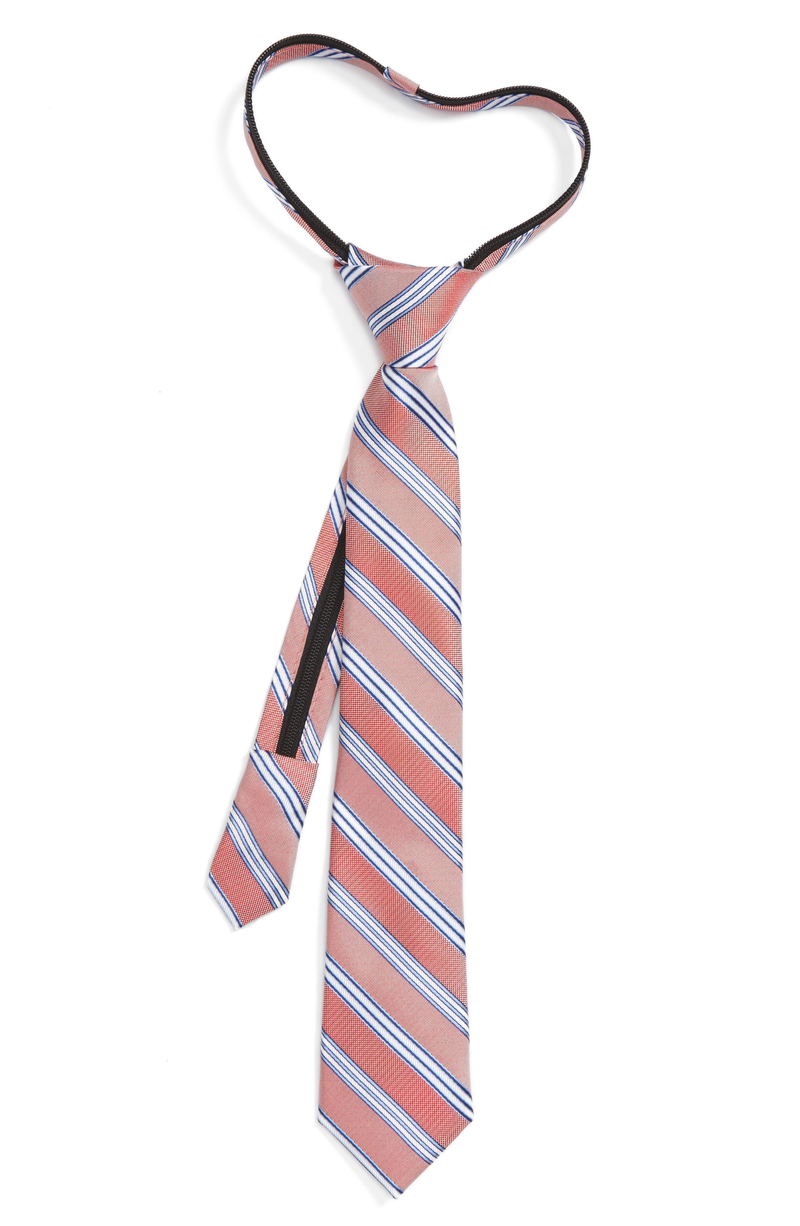Stripe Silk Zipper Tie,                         Main,                         color, Red Stripe