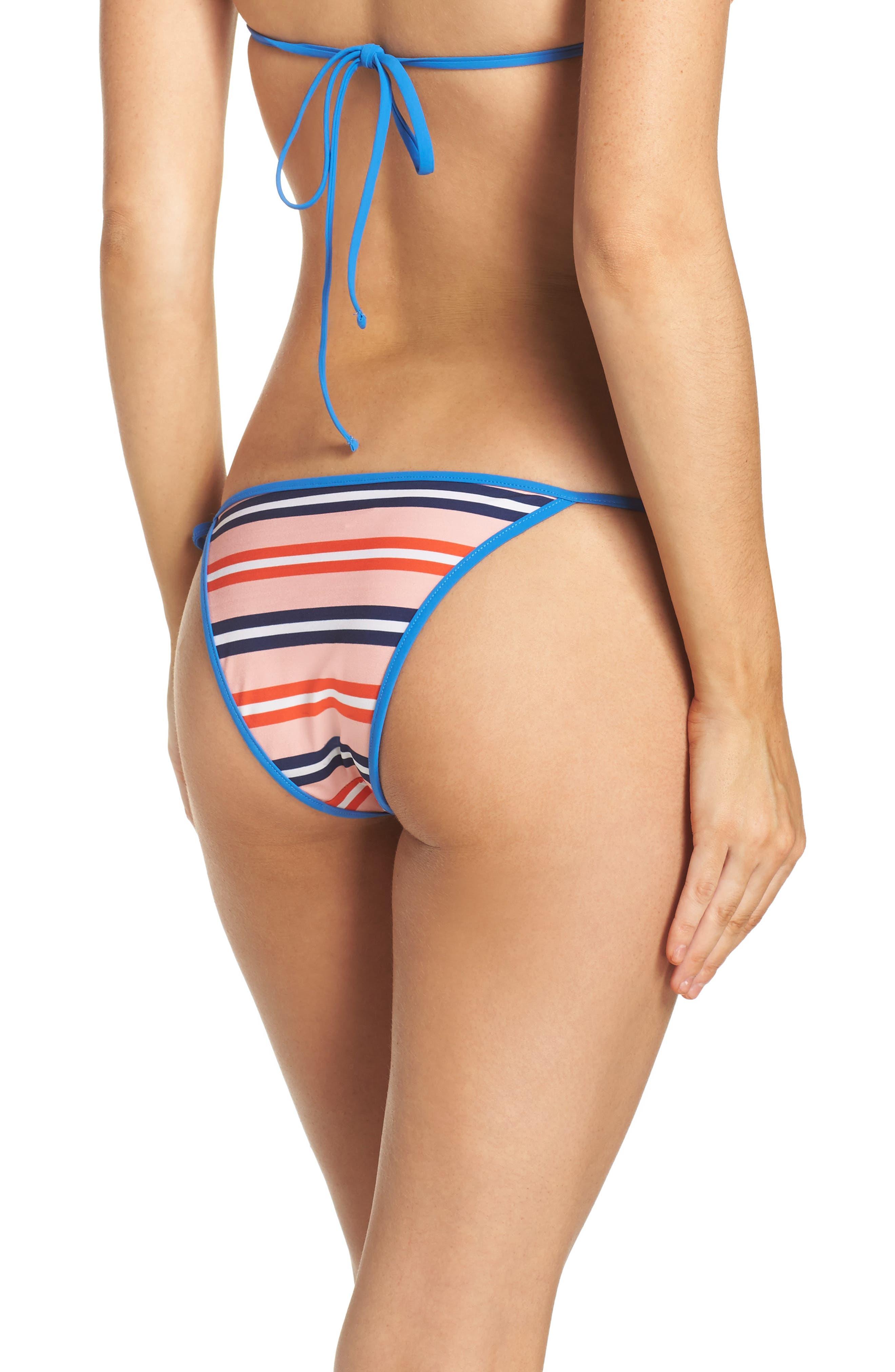 Side Tie Bikini Bottoms,                             Alternate thumbnail 2, color,                             Aikin Stripe Sm Flame Red