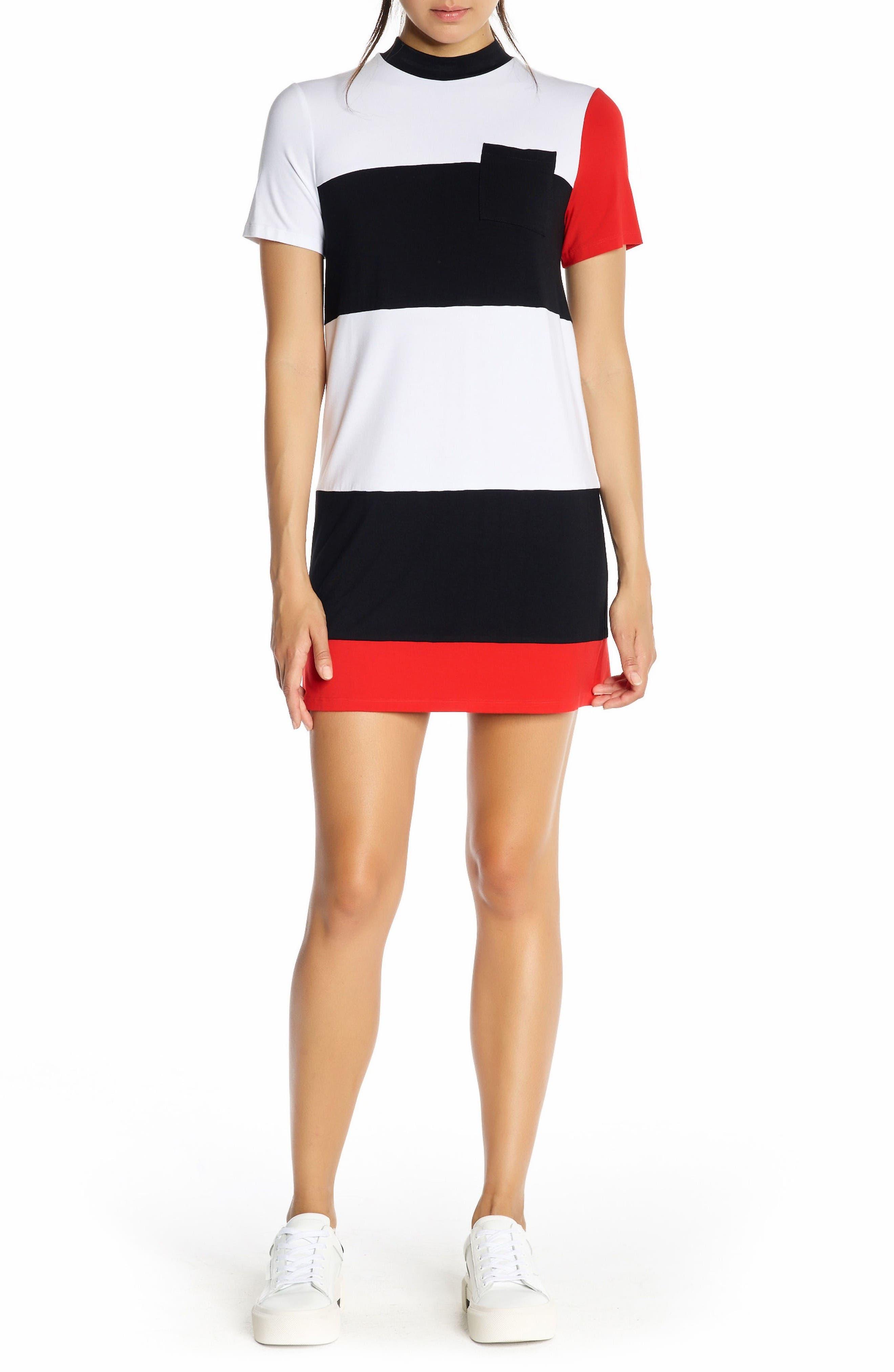 Geo Stripe T-Shirt Dress,                         Main,                         color, White Multi